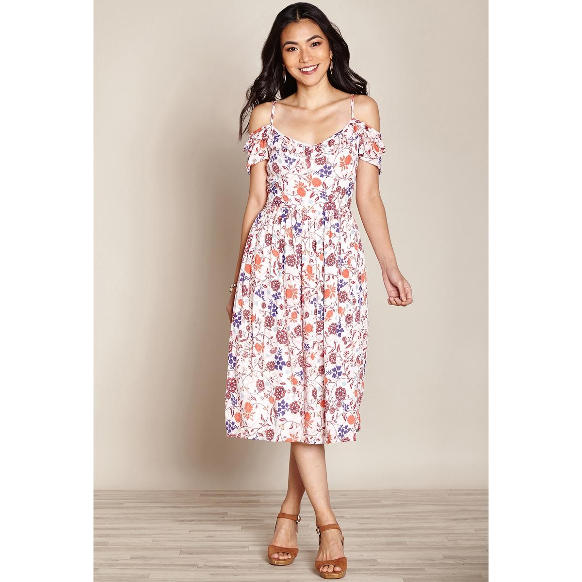 Платье расклешенное на тонких бретелях, длина ниже колен платье yumi yumi платье