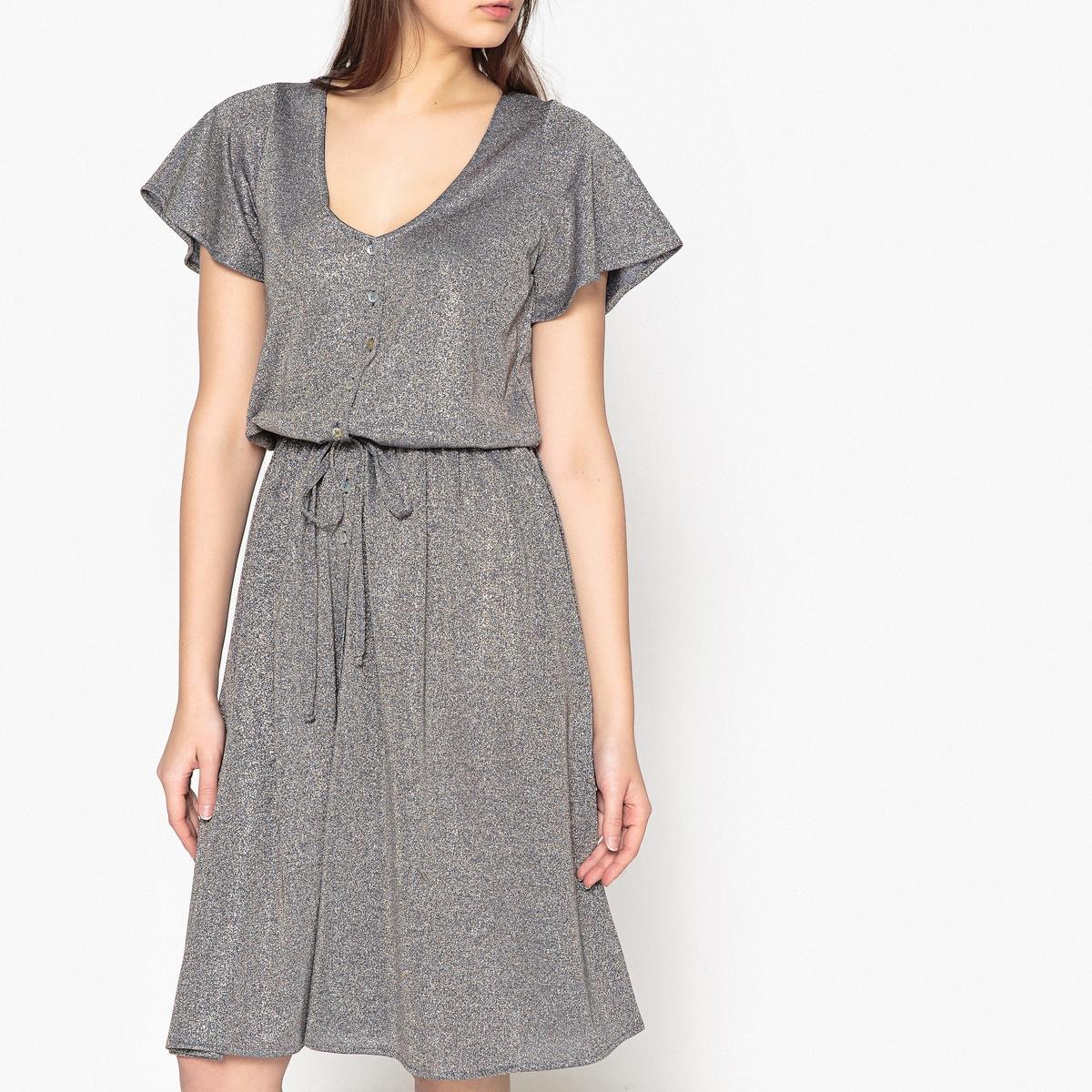 Платье La Redoute С застежкой на пуговицы из струящейся ткани с радужным отливом NUIT DIVRESSE M серебристый пиджак с застежкой на пуговицы sartorio