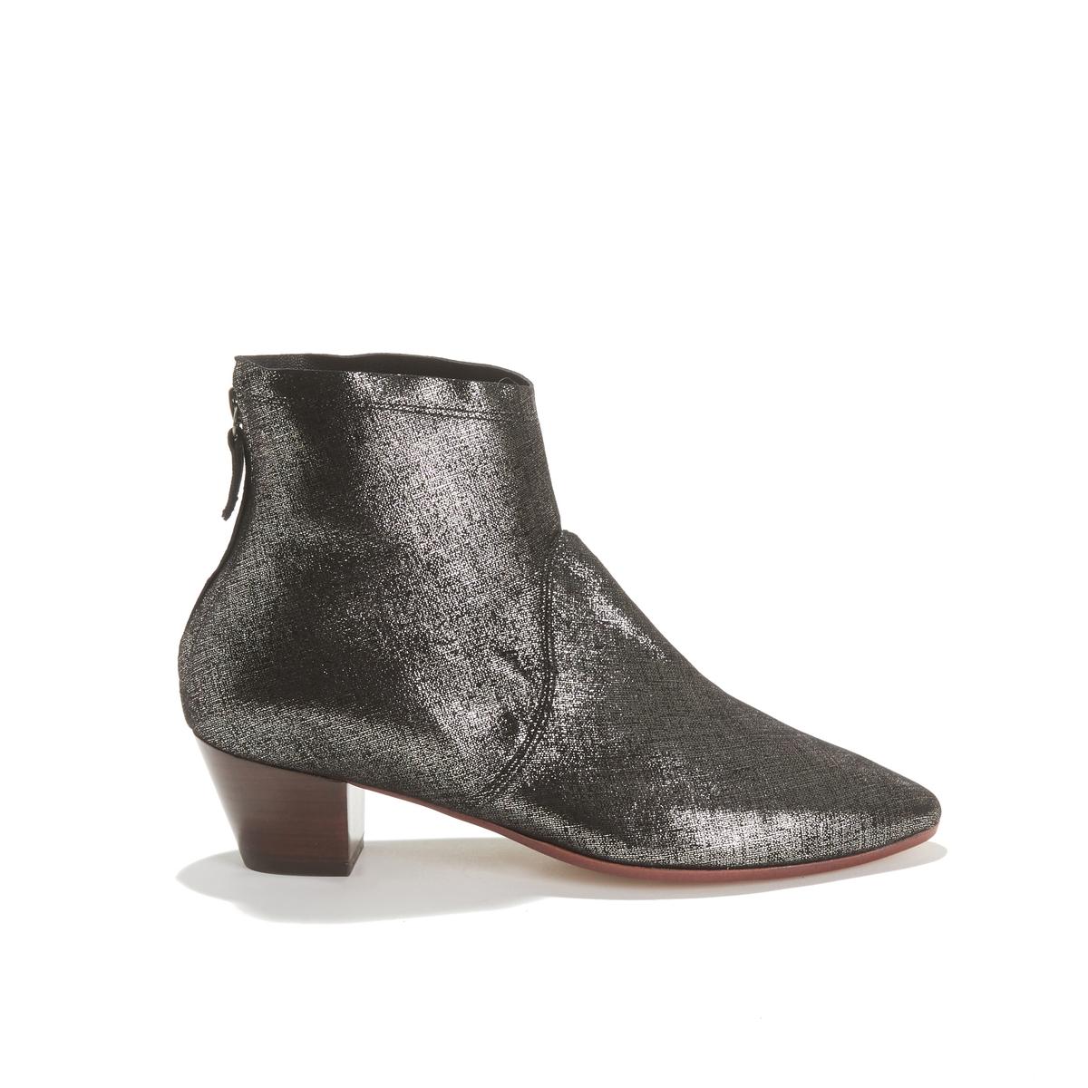 Ботильоны La Redoute Кожаные на каблуке LEAH CRACKLE 39 серый цены онлайн