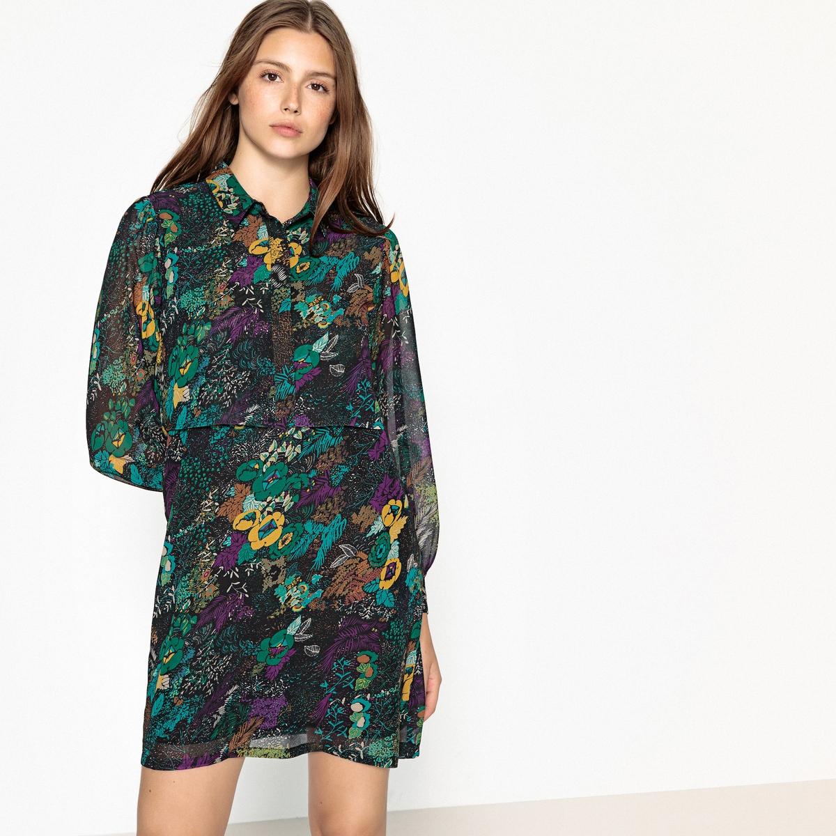 Платье короткое с цветочным рисунком и длинными рукавами платье с запахом длинными рукавами и цветочным рисунком