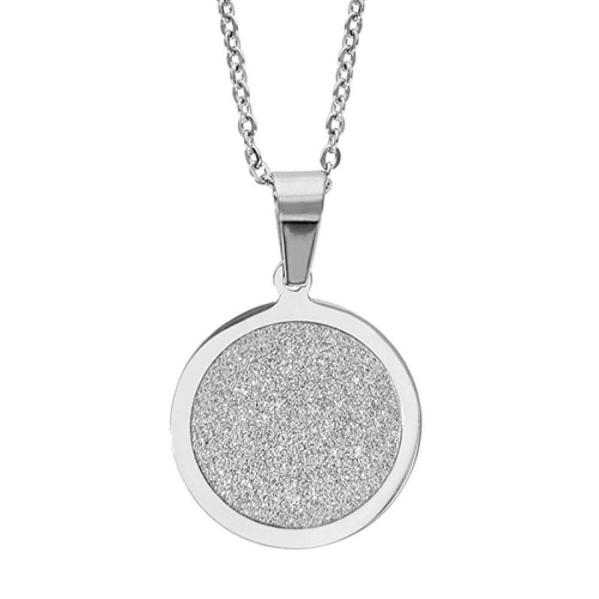 Collier 45 cm Pendentif Circulaire Disque Aspect Granit Acier