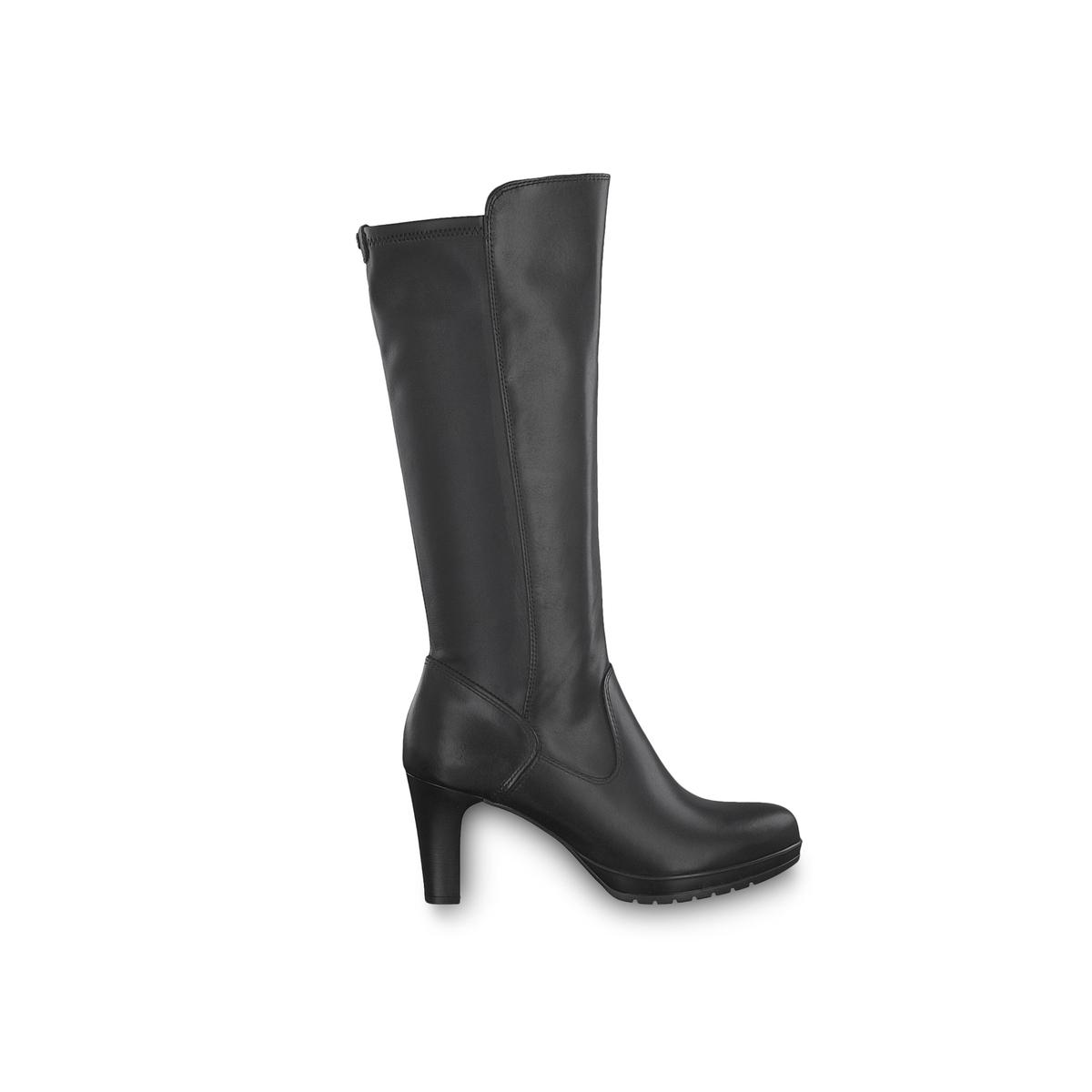 цена Сапоги La Redoute Кожаные на каблуке Carmen 36 черный онлайн в 2017 году