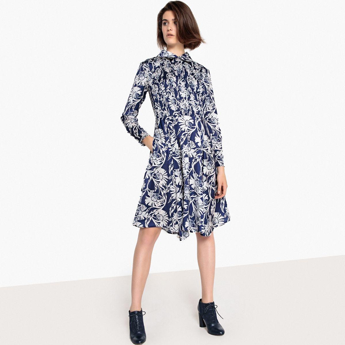 Robe col chemise imprimé fleurs, manches longues