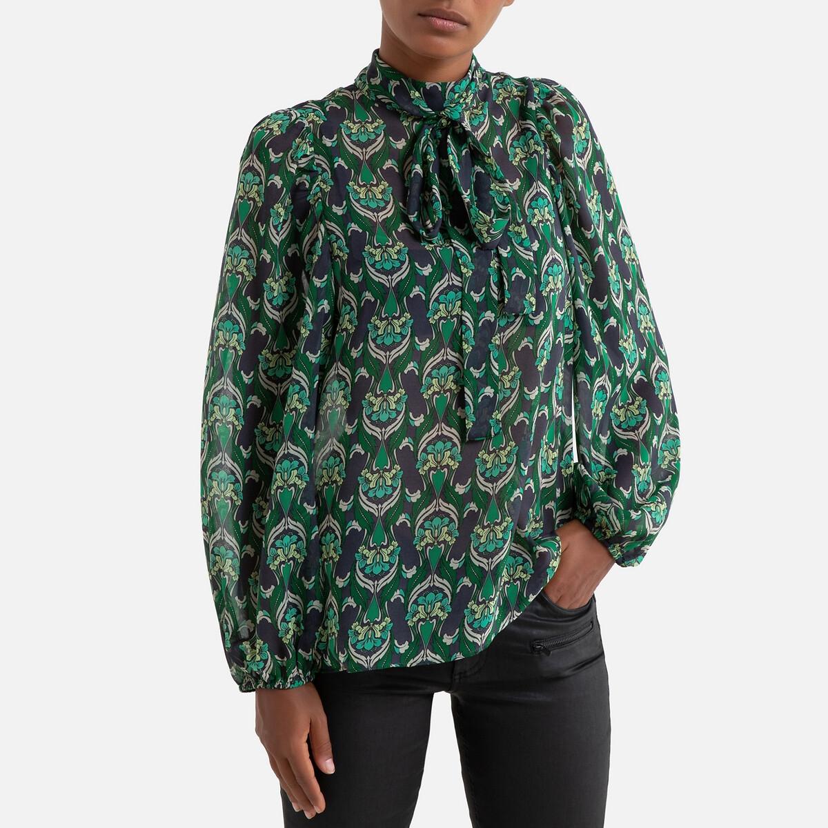 Блузка La Redoute С принтом и с завязками длинные рукава 38 (FR) - 44 (RUS) зеленый кеды сникеры la redoute с крокодиловым принтом 38 желтый