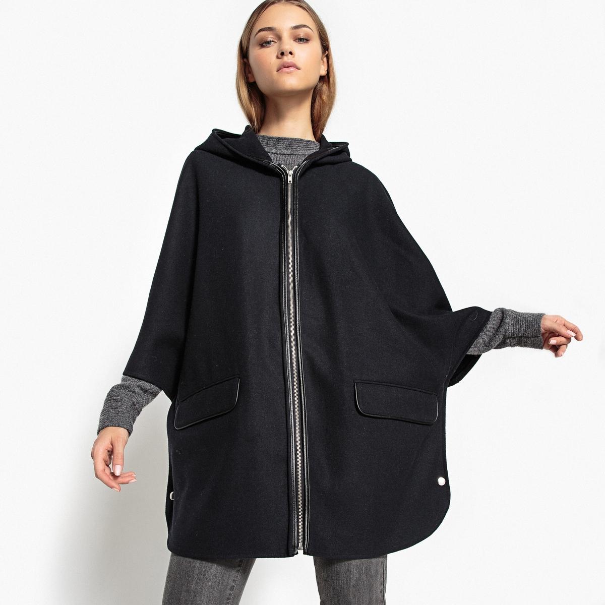 Плащ с капюшоном на молнии, 2 карманаОписание:Оригинальное и невероятно удобное пальто-плащ. Этот плащ с капюшоном защитит вас от дождя и холода. Элегантный и стильный утепленный плащ.Детали •  Длина : средняя •  Капюшон •  Застежка на молнию •  С капюшономСостав и уход5% вискозы, 20% шерсти, 40% акрила, 5% полиамида, 30% полиэстера    • Не стирать •  Любые растворители / не отбеливать   •  Не использовать барабанную сушку •  Не гладить •  Длина : 80 см<br><br>Цвет: темно-синий<br>Размер: 34 (FR) - 40 (RUS).38 (FR) - 44 (RUS)
