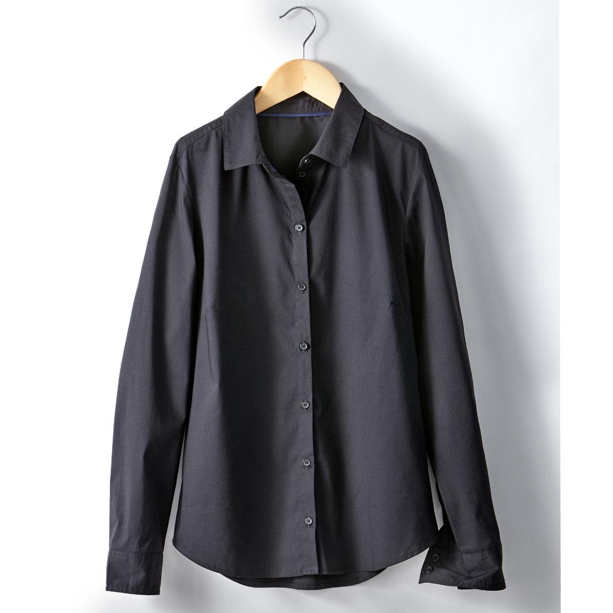Рубашка однотонная из поплинаРубашка однотонная из поплина. Длинные рукава. Слегка приталенный покрой. Рубашечный воротник на стойке. Закругленный низ. Вставка сзади.  Состав и описаниеМарка : R Essentiel Материал : Поплин стретч 69% хлопка, 28% полиамида, 3%  эластанаДлина : 65 смУходМашинная стирка при 30 °C с вещами схожих цветов Гладить при низкой температуреМашинная сушка в умеренном режиме<br><br>Цвет: черный