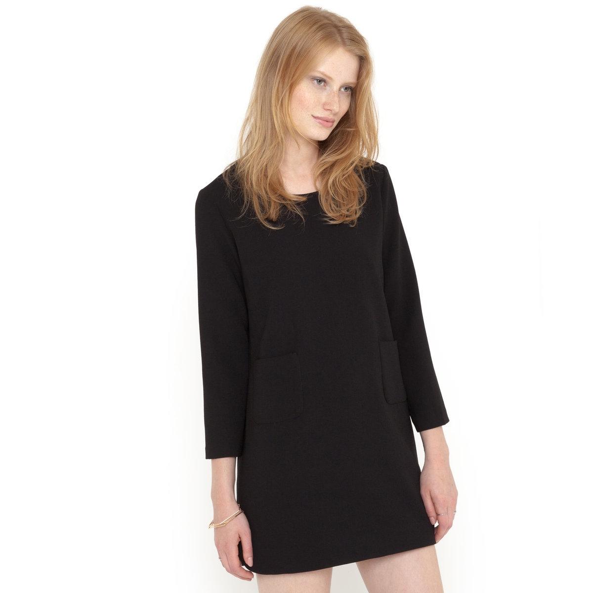 ПлатьеПлатье SUNCOO. 100% вискозы. Круглый вырез. Рукава 3/4. Разрезы по бокам.<br><br>Цвет: черный