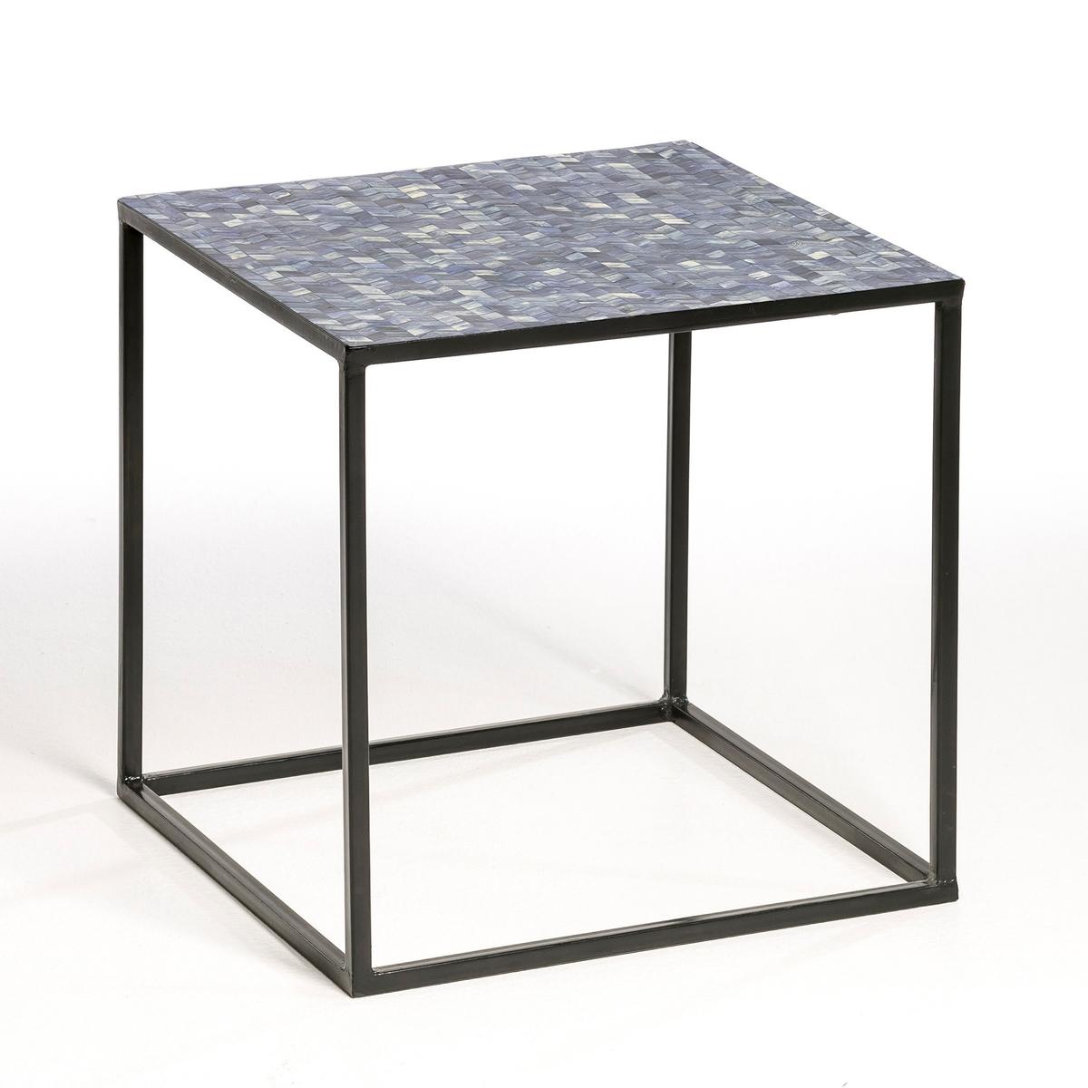 Столик, ElrosСтолик Elros : Журнальный или прикроватный столик...  Описание :- Каркас из металла .- Столешница из МДФ и пластика цвета индиго, с мозаичным рисунком .Размеры : - 40 x 40 x 40 см<br><br>Цвет: синий индиго