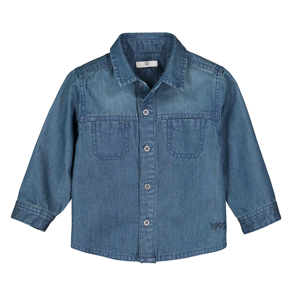 Фото - Рубашка LaRedoute Из денима 1 мес - 3 года 2 года - 86 см синий юбка laredoute прямая из легкого денима 3 12 лет 3 года 94 см синий