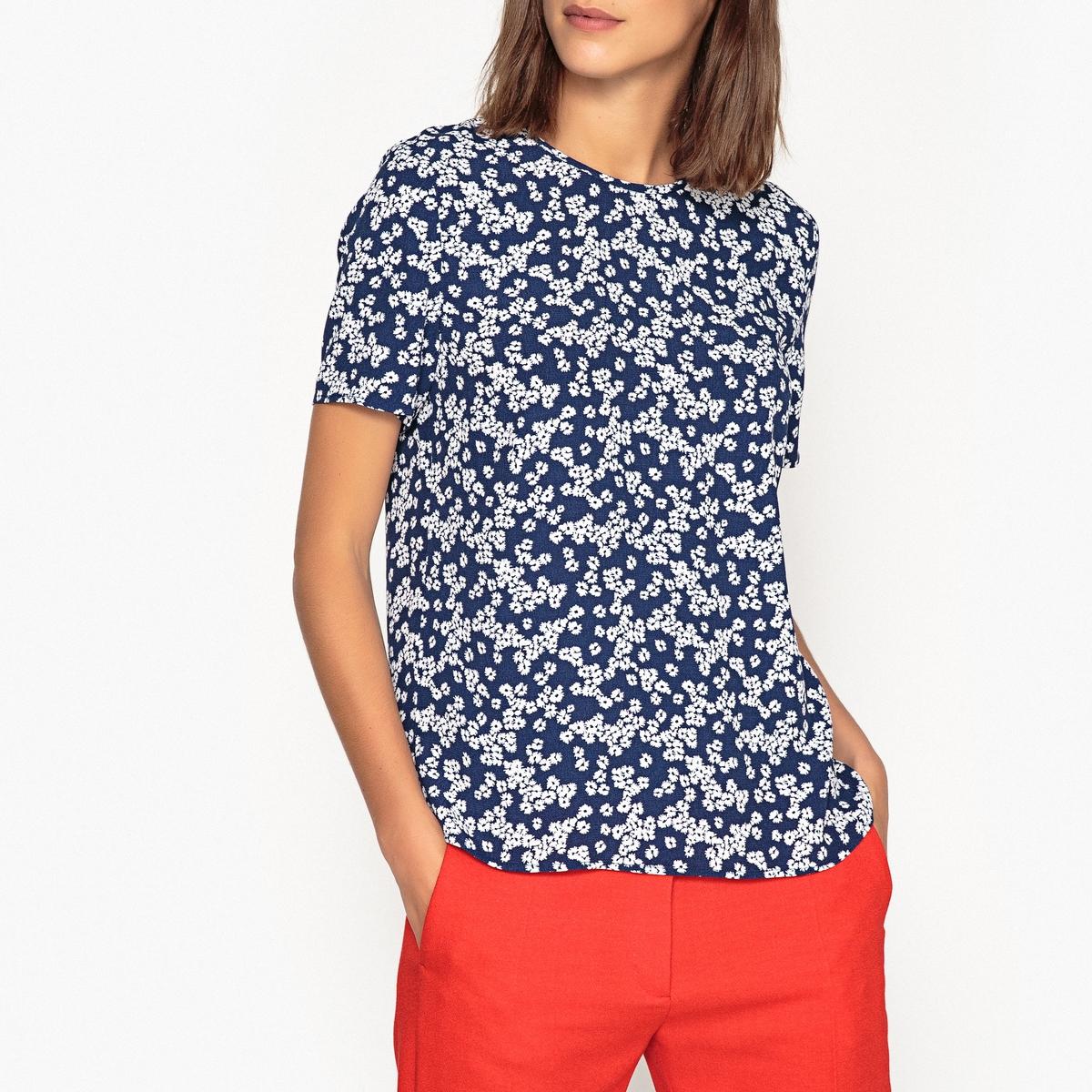 Блуза с цветочным рисунком, короткие рукава блузка с рисунком из струящейся ткани