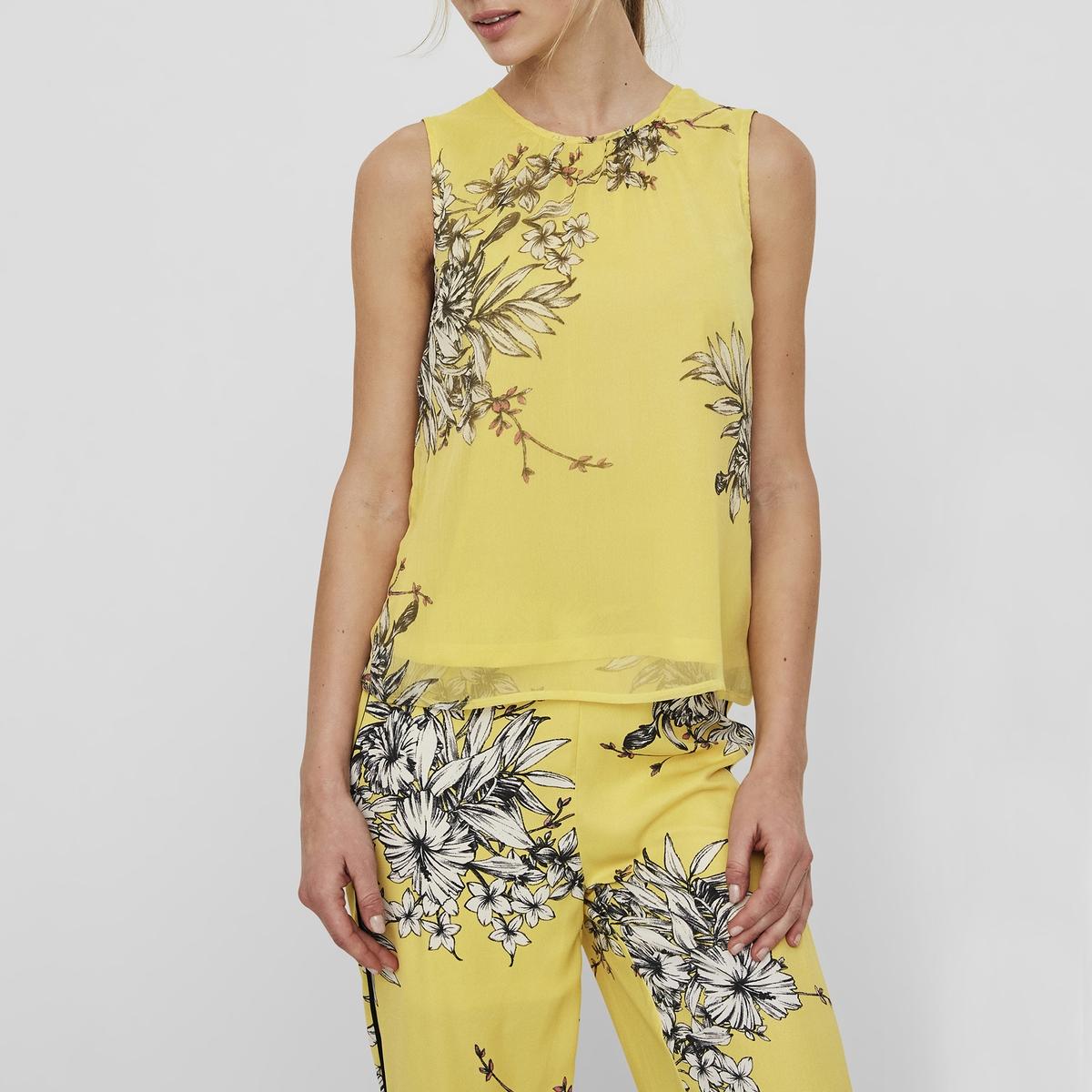 Blusa de gola redonda, sem mangas, estampado floral