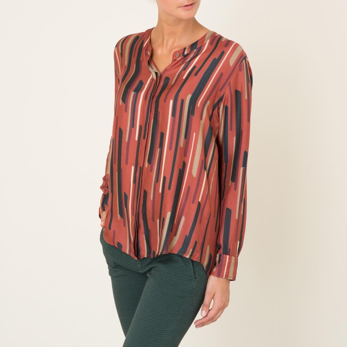 Блулзка SELENAСтруящаяся блузка DIEGA - моедль SELENA из шелковистой ткани со сплошным рисунком. Свободный воротник-стойка. Супатная застёжка на пуговицы. Длинные рукава с пуговицами на манжетах.Состав и описание Материал : 80% вискозы, 20% шелкаМарка : DIEGA<br><br>Цвет: красный