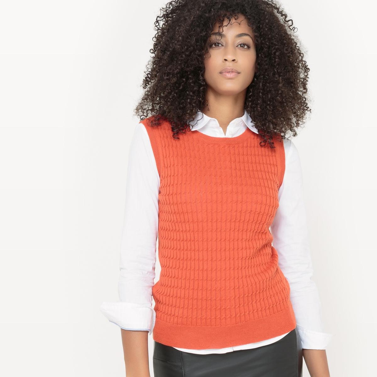 Пуловер без рукавовСостав и опианиеМатериал: трикотаж, 60% хлопка, 40% полиэстера.Длина: 56 см.Марка: R ?dition  УходМашинная стирка при 30° с одеждой подобных цветов.Стирать и гладить с изнанки.<br><br>Цвет: оранжевый<br>Размер: 42/44 (FR) - 48/50 (RUS)