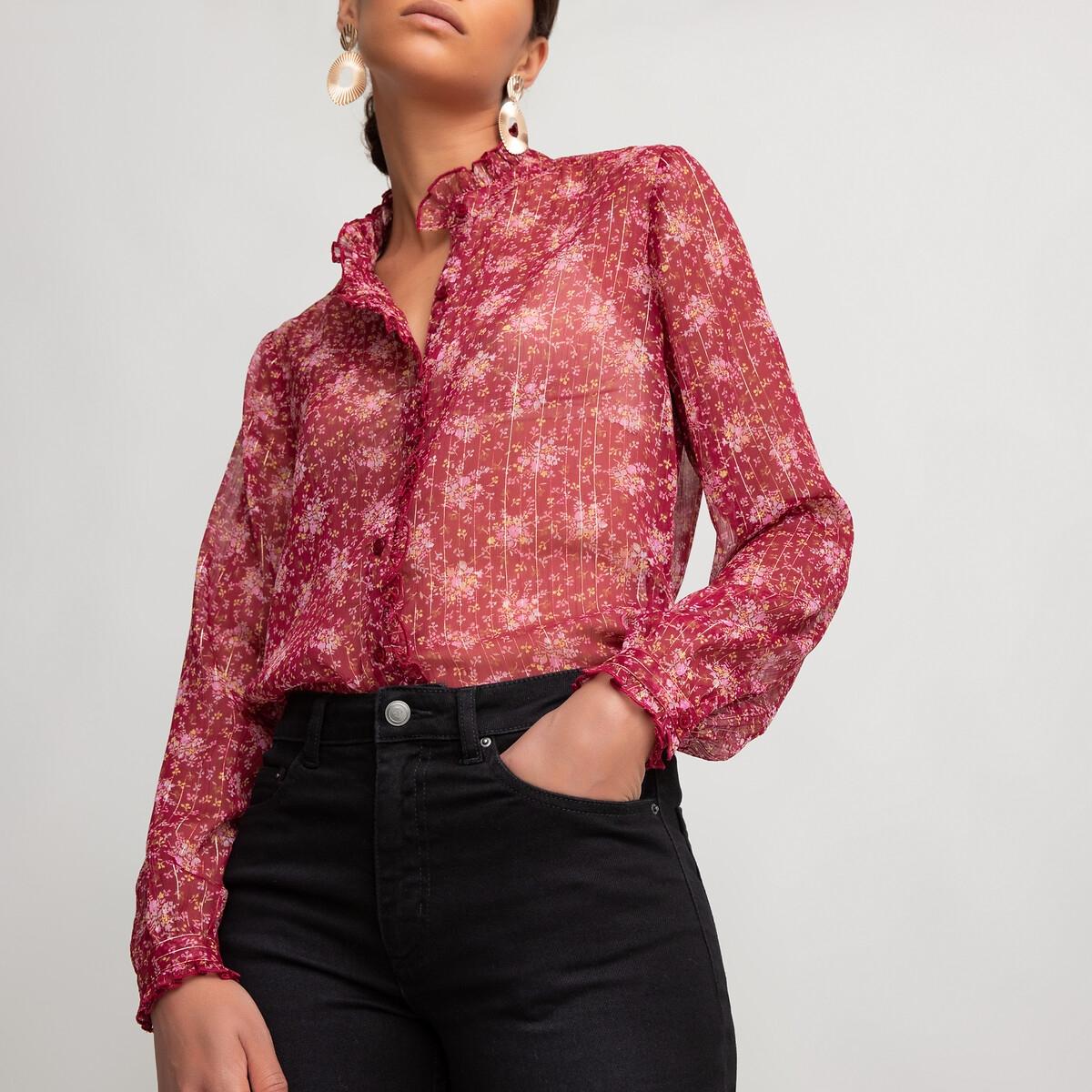 Блузка LaRedoute С воротником-стойкой и цветочным принтом 42 (FR) - 48 (RUS) красный