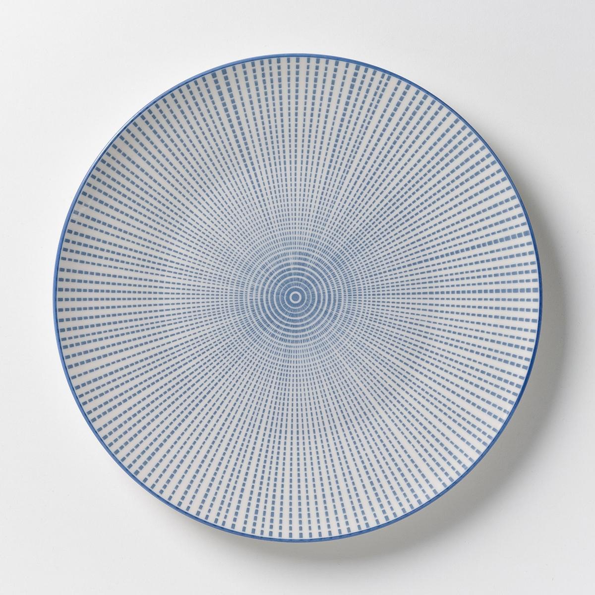 4 тарелки мелкие фарфоровые Shigoni4 мелких тарелки Shigoni. Тарелки в азиатском стиле с рифленой поверхностью. Глазурованный фарфор. Размеры: ?26,5 см. Подходит для посудомоечных машин и микроволновых печей. Выбор десертных тарелок и чаш на сайте.<br><br>Цвет: синий/белый