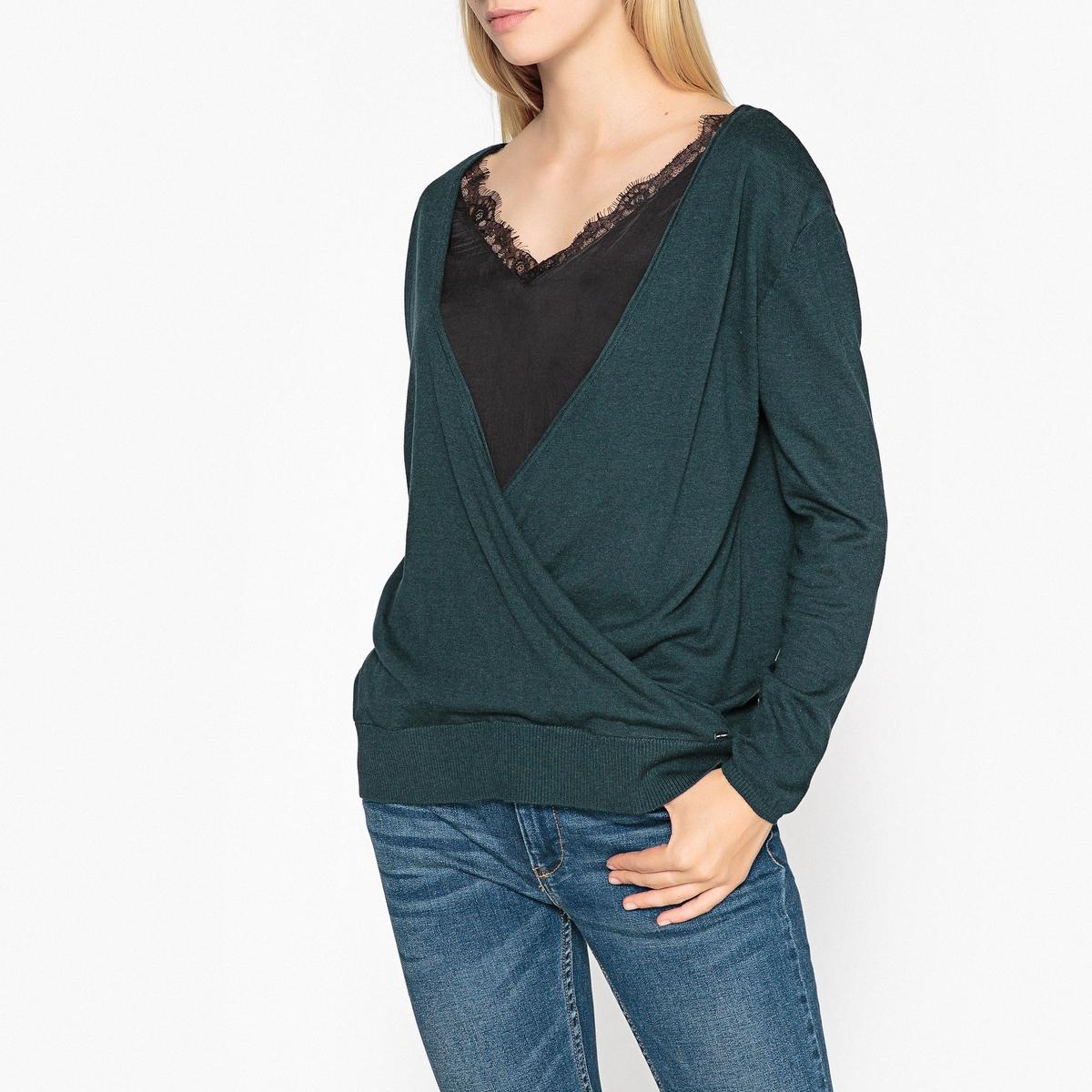 Пуловер из кружева и тонкого трикотажа