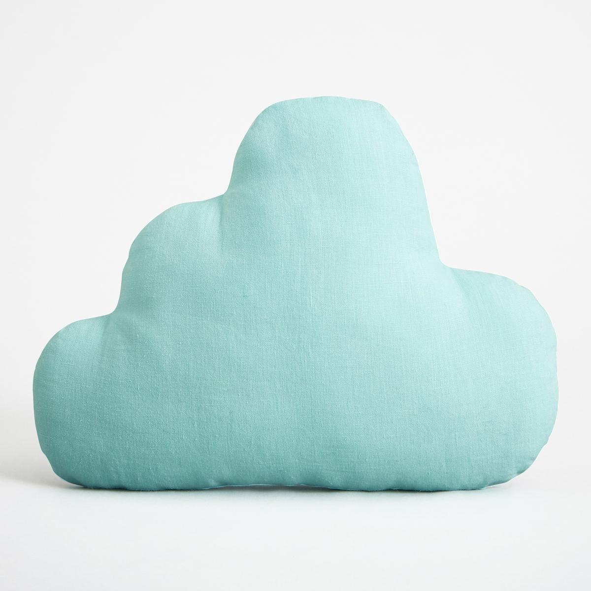 Подушка-облако AchenzaПодушка Achenza. Подушка-облако добавит нежности в интерьер спальни малыша. Из 100% двухцветного льна. Мягкий наполнитель из волокон полиэстера. Стирать при 40°C. Размеры : Д37 x В27 см.<br><br>Цвет: голубой бирюзовый