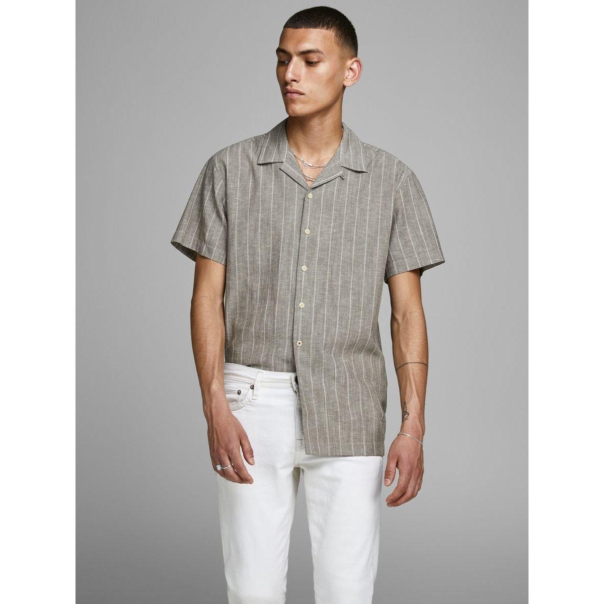 Chemise à manches courtes Lin mélangé col cubain