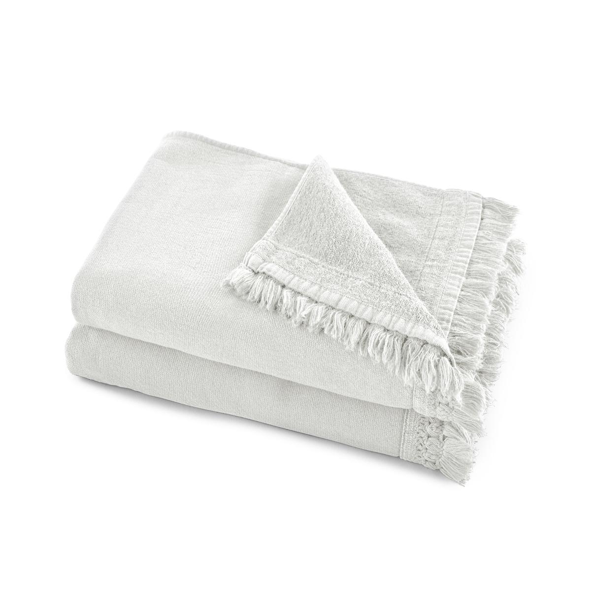 Комплект из двух полотенец из La Redoute Хлопка и льна Kiramy 50 x 100 см белый комплект из полотенце для la redoute рук из хлопка и льна nipaly 50 x 100 см белый