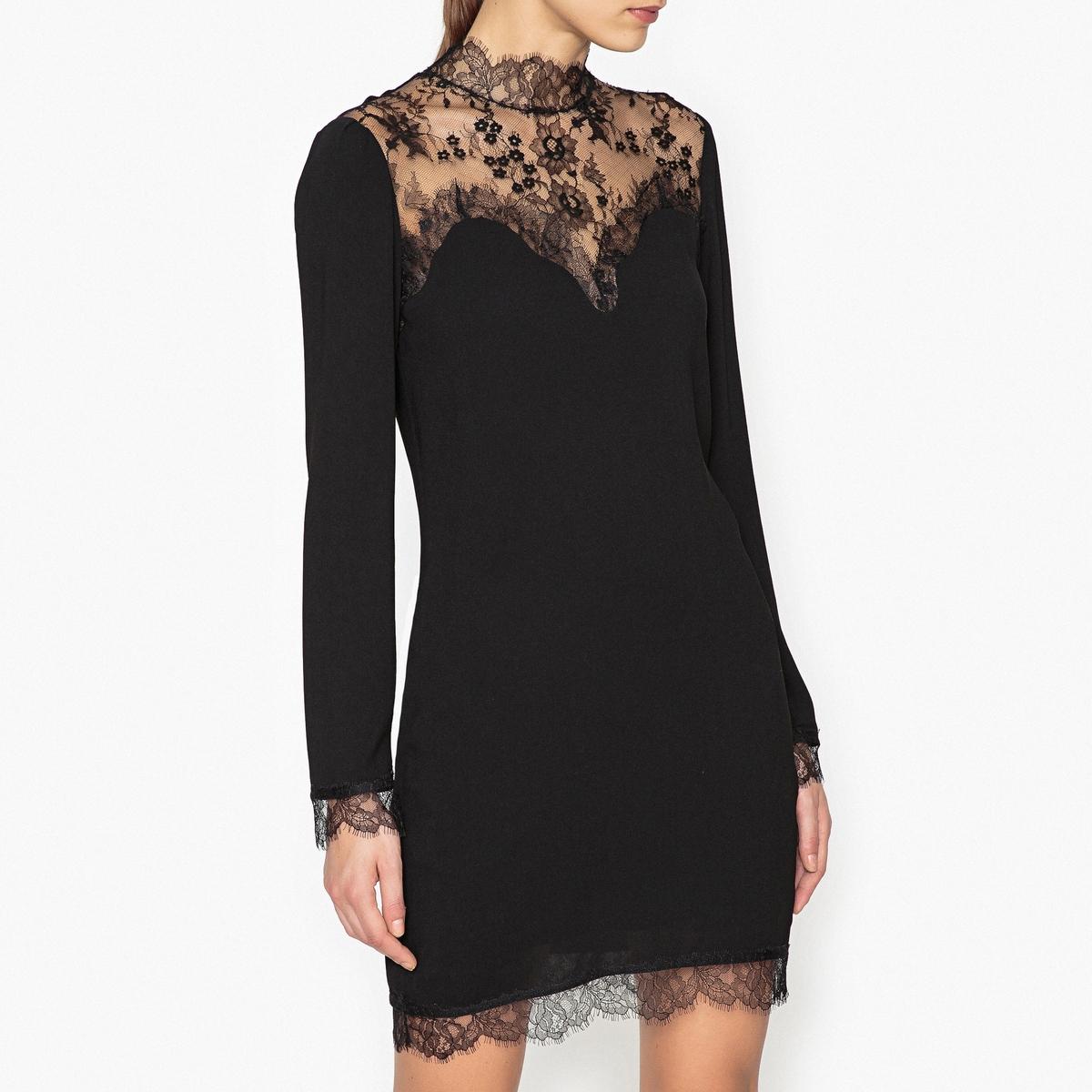 купить Платье с кружевными вставками недорого