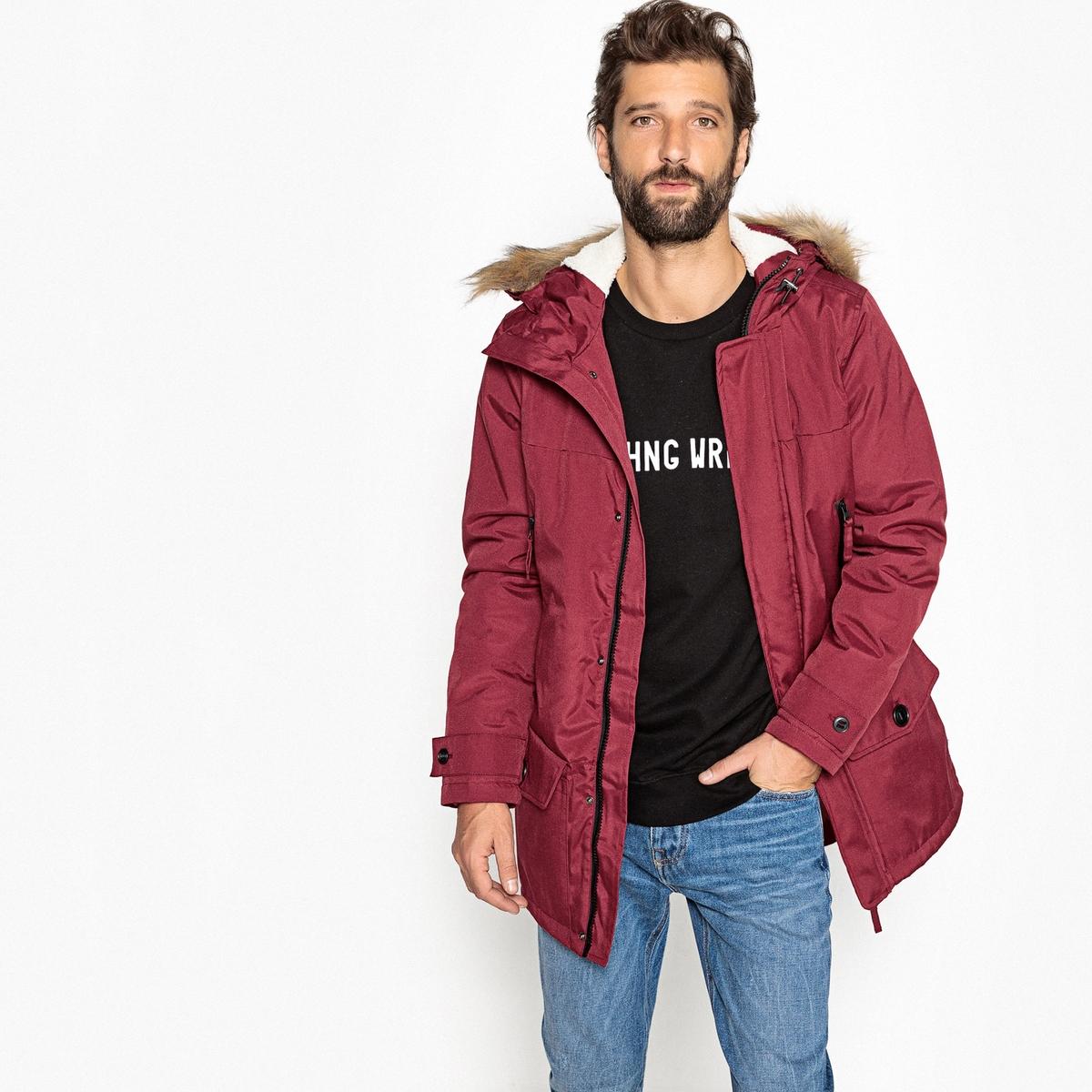 Парка La Redoute Непромокаемая с капюшоном из искусственного меха XXL красный куртка la redoute тонкая непромокаемая maxime xxl синий
