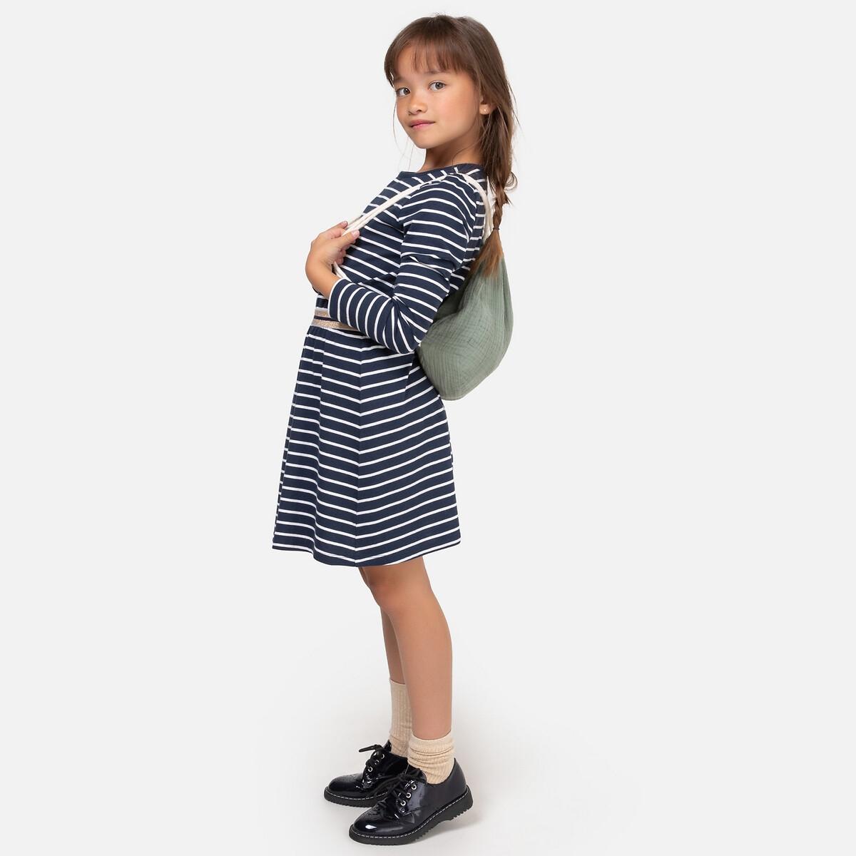 Платье LaRedoute В полоску с длинными рукавами 3-12 лет 3 года - 94 см синий блузка laredoute с длинными рукавами и отделкой макраме 3 12 лет 4 года 102 см бежевый