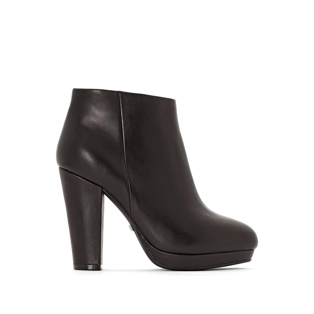 Ботильоны кожаные,10645LВерх/Голенище: Кожа.       Подкладка: Синтетика и текстиль.        Подошва: Синтетический материал.                  Высота каблука: 10 см.Форма каблука: Широкая.  Мысок: Круглый. Застежка: На молнию.<br><br>Цвет: черный