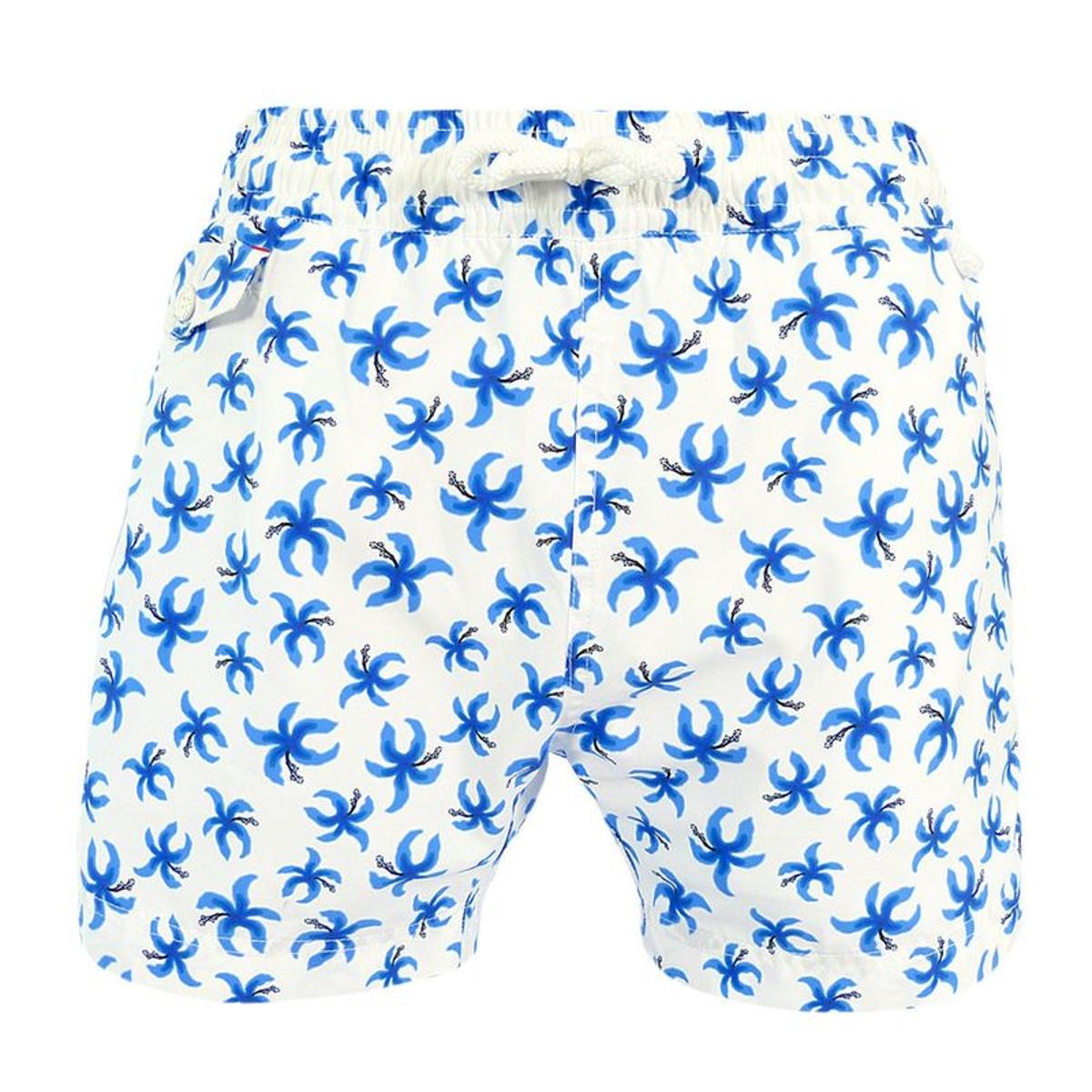 Maillot Short de bain homme Orchidée pistil noir blanc bleu