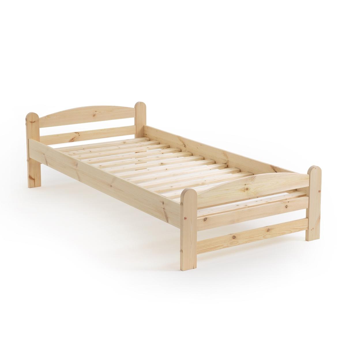 Кровать La Redoute Из массива сосны с кроватным основанием Loan 90 x 190 см бежевый
