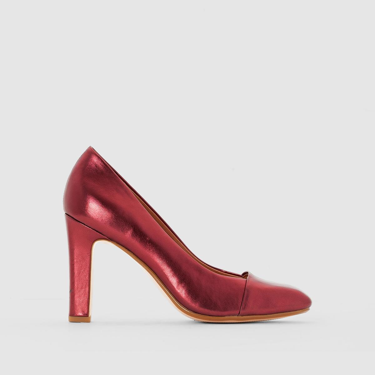 Туфли на высоком каблукеМарка : R studioВерх : синтетикаПодкладка : кожаСтелька : кожаПодошва : эластомерКаблук : 9 смЗастежка : без застежки<br><br>Цвет: бордовый,черный<br>Размер: 36.39