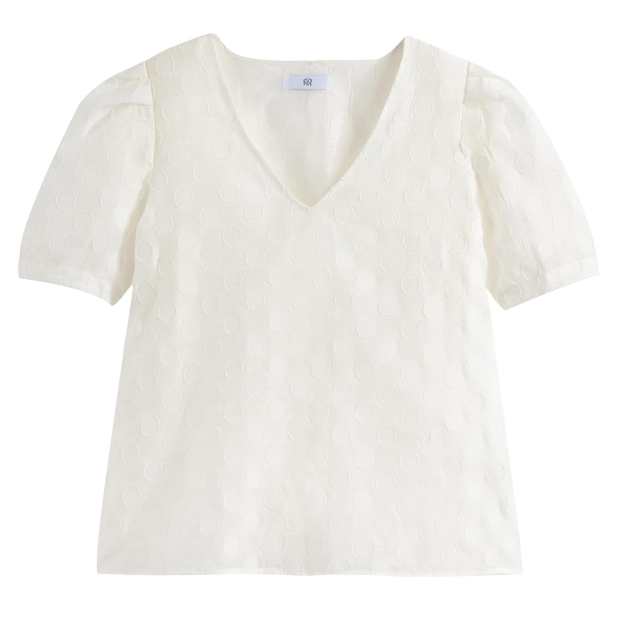 Blusa con cuello de pico de manga corta