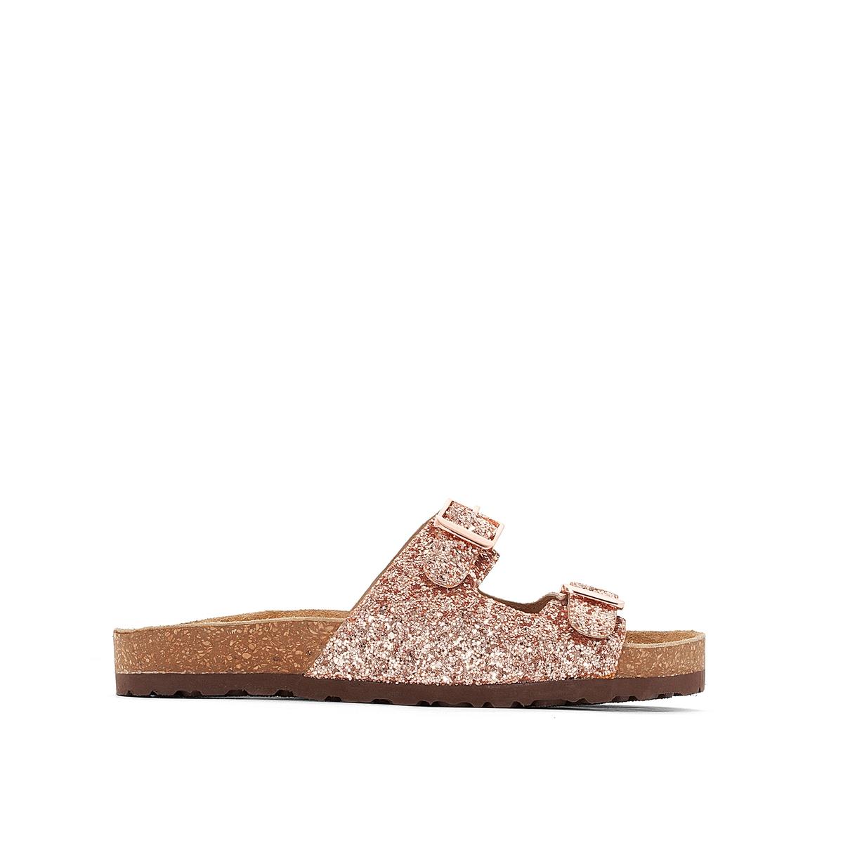 Туфли без задника синтетическиеДетали   •  Туфли без задника •  Высота каблука : 0 см •  Застежка : без застежки •  Открытый мысок •  Гладкая отделкаСостав и уход   •  Верх 100% синтетический материал •  Подкладка 100% синтетический материал<br><br>Цвет: золотисто-розовый<br>Размер: 40.38