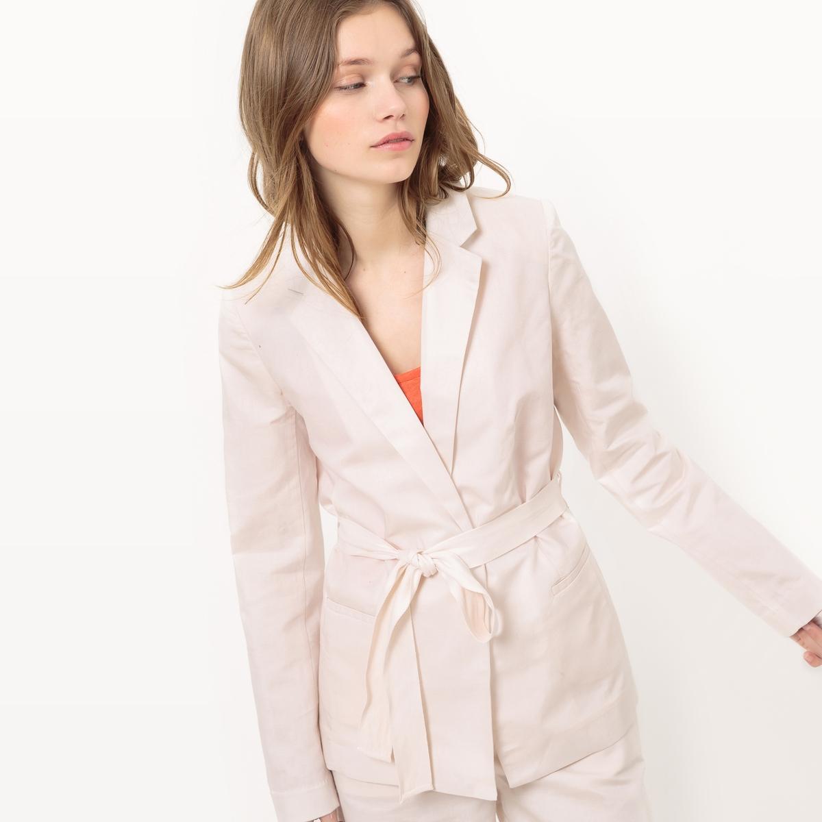 Chaqueta con cinturón de algodón/lino