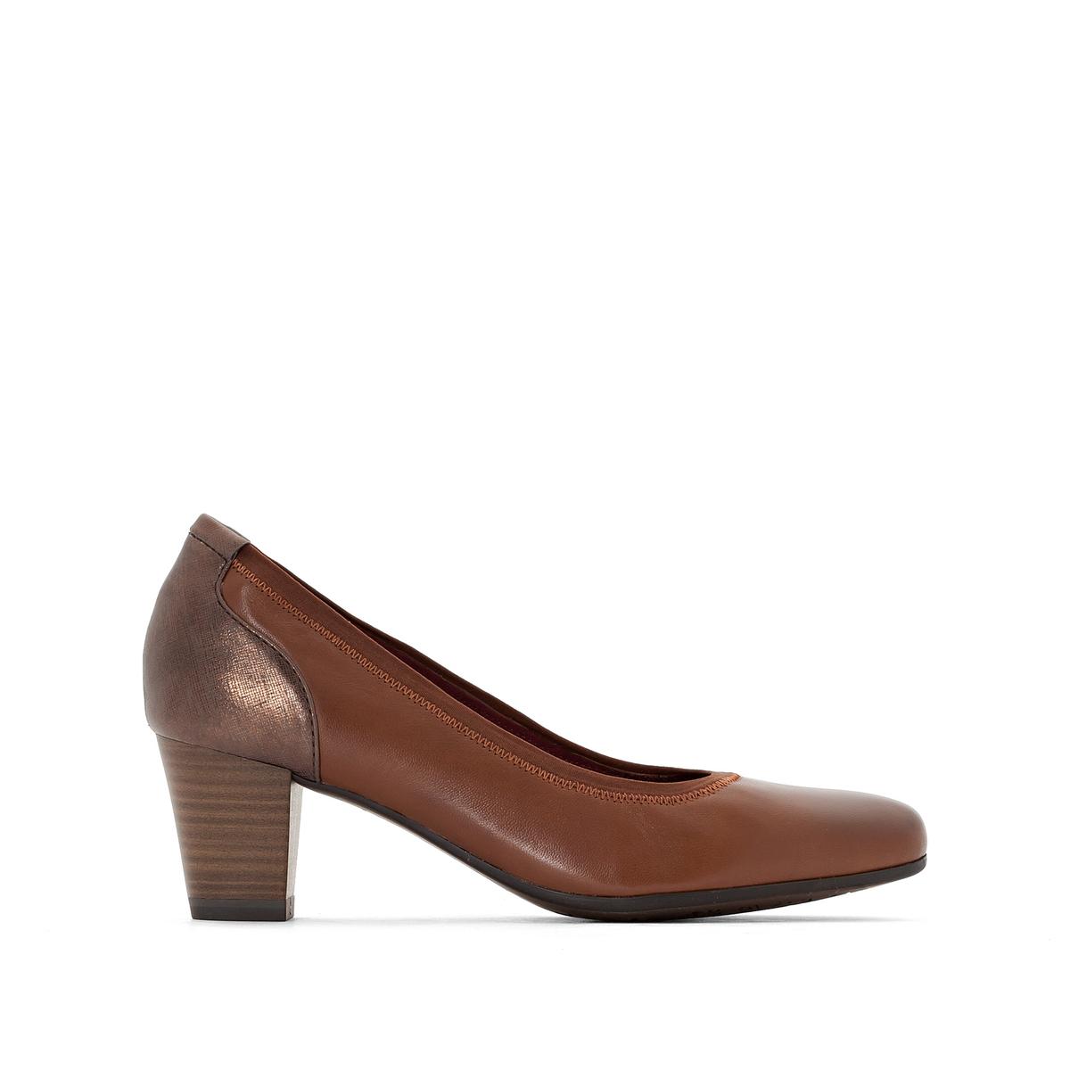 Туфли кожаные 22400-27Подкладка : текстиль Стелька : кожа Подошва : синтетика Высота каблука : 5,5 см Форма каблука : широкий Мысок : закругленный Застежка : без застежки<br><br>Цвет: каштановый<br>Размер: 40