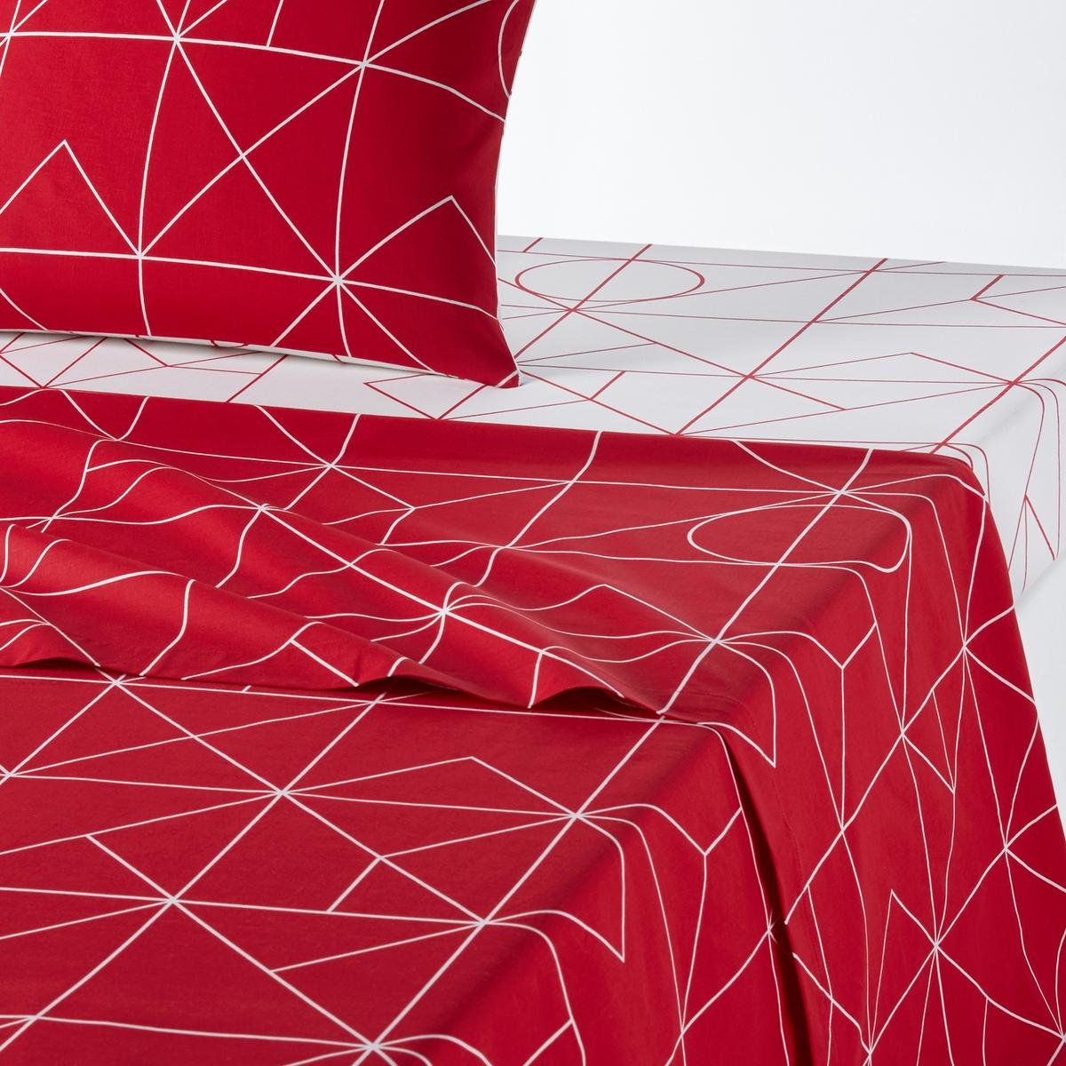 цена на Простыня La Redoute Гладкая из хлопка VIDMEY 270 x 290 см красный