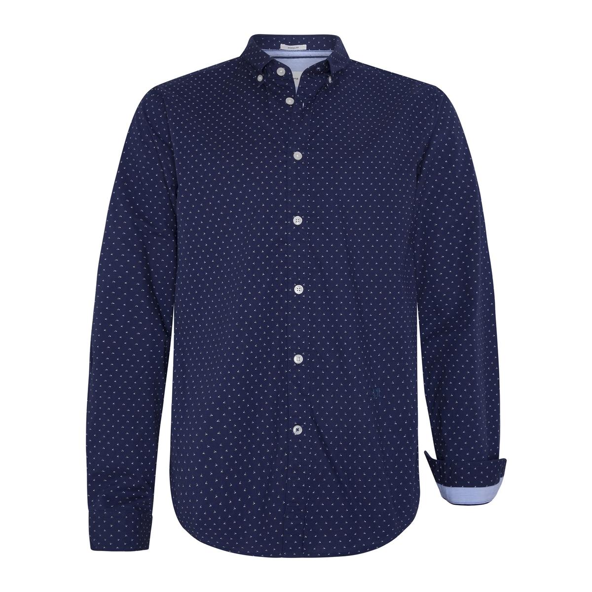 Рубашка La Redoute Зауженная с принтом Davon L синий