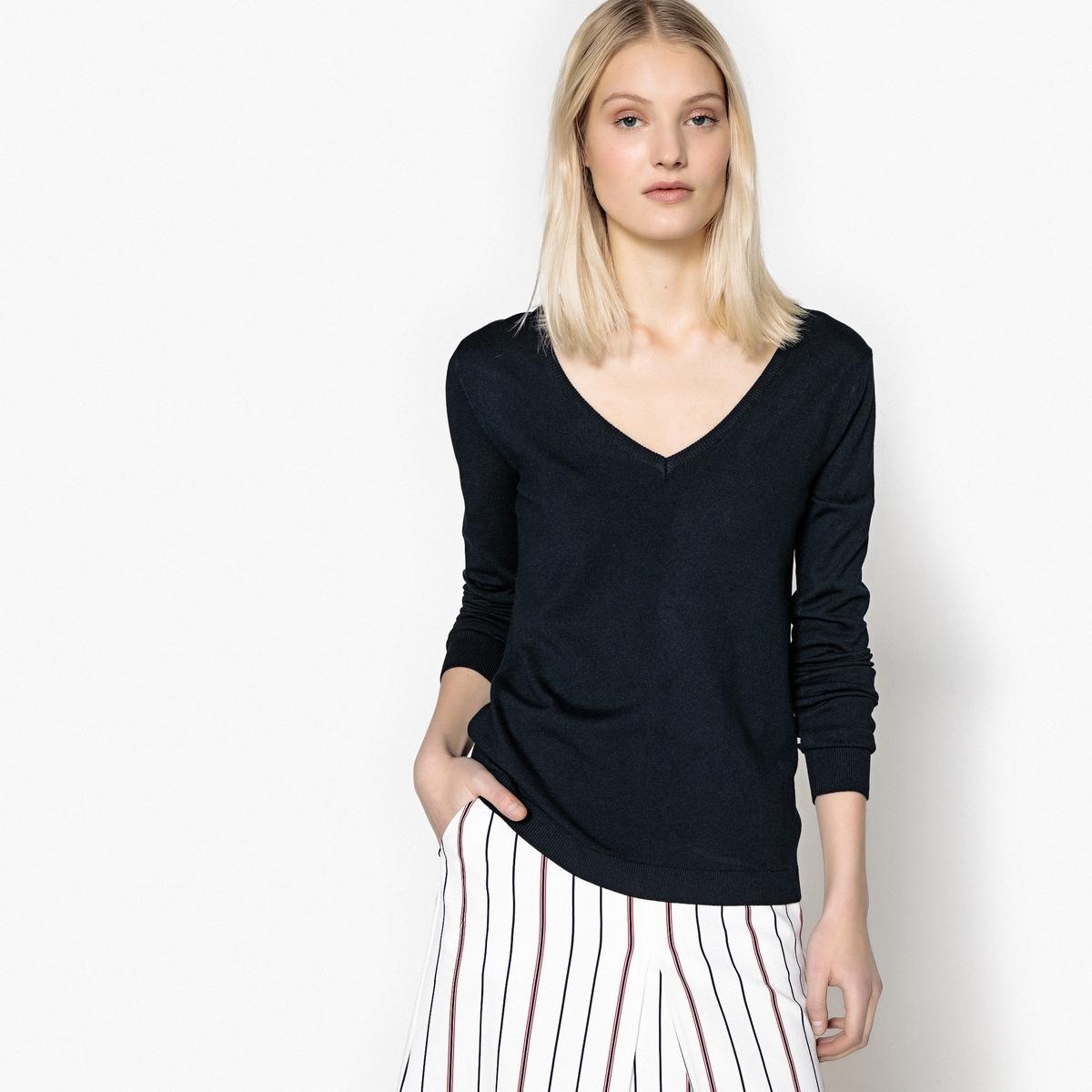 Пуловер базовый с V-образным вырезом из вискозы пуловер из плотного трикотажа с v образным вырезом