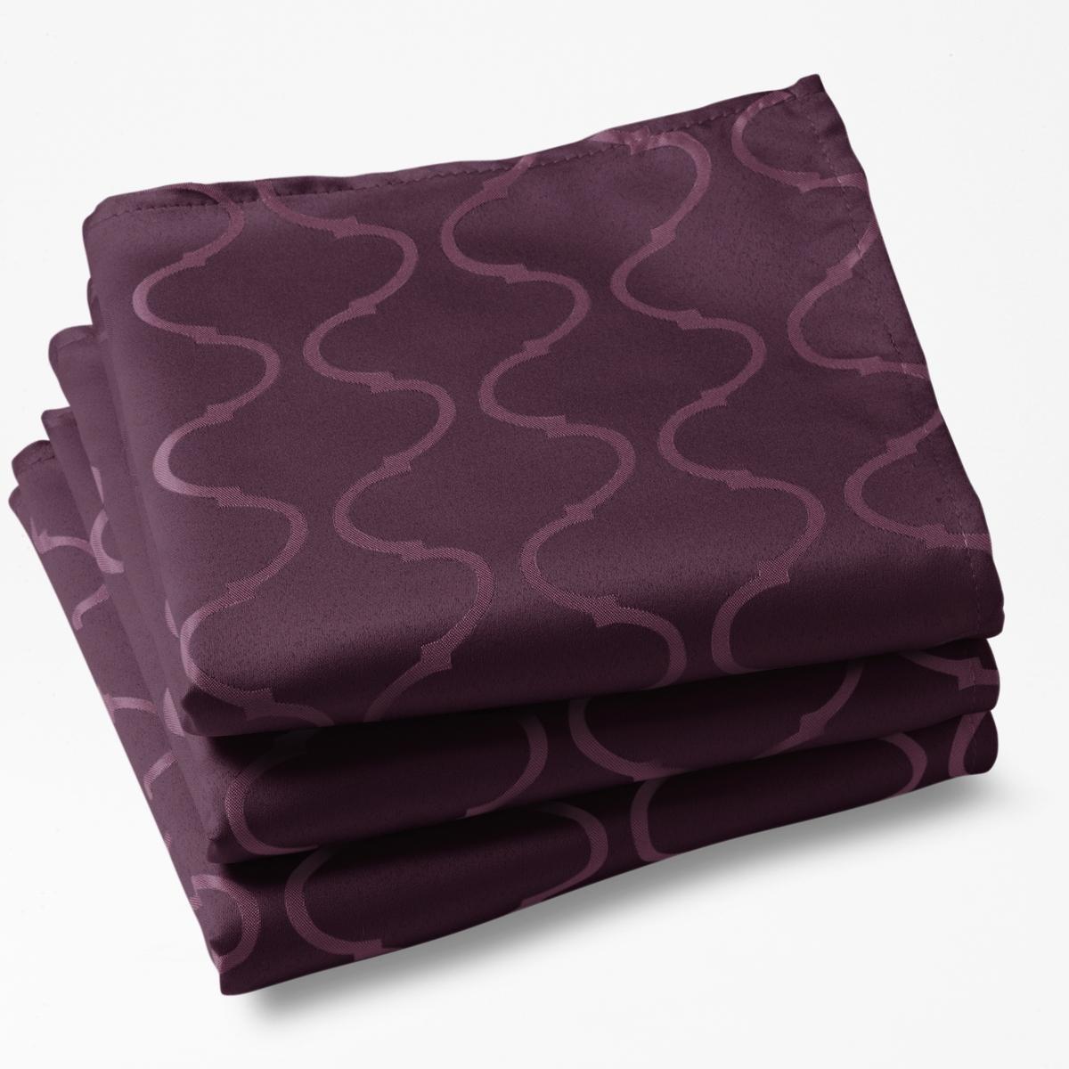 Комплект из 3-х салфеток c узором, Salom?.Характеристики:Материал: 100% полиэстера.Уход: машинная стирка при 40°С.Отделка: подрубленные края.Не гладить: ткань не мнётся. Размеры:- 45 см x 45 см.<br><br>Цвет: белый,красный,серый,ярко-фиолетовый