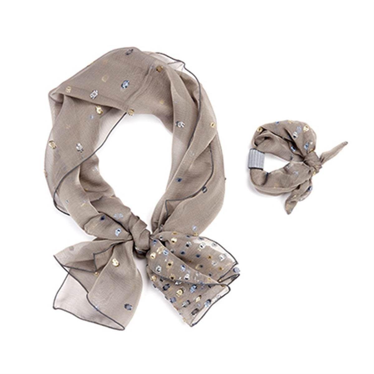 Parure foulard et bracelet à nouer en mousseline de soie et Fil textile® Arabesque
