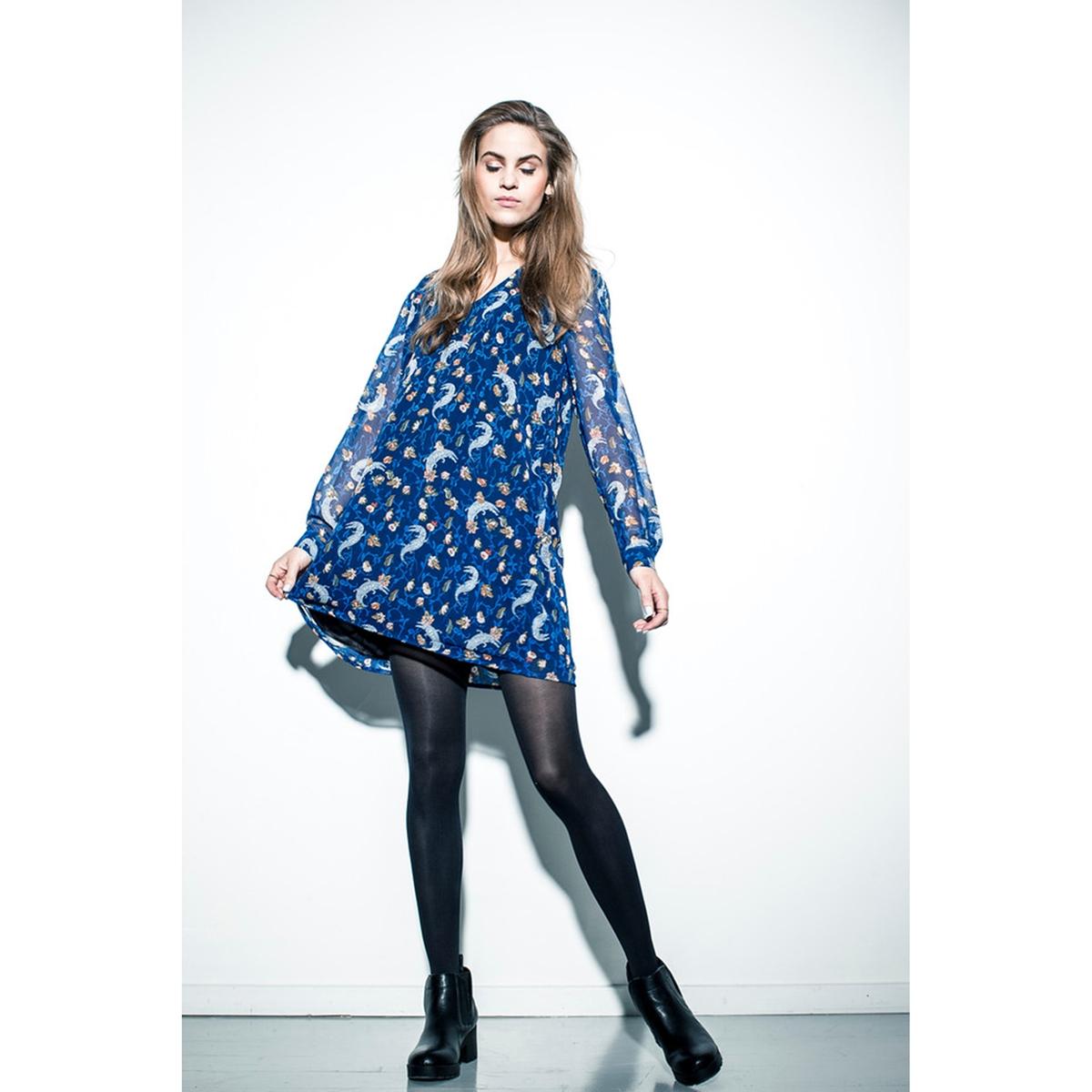 Платье с рисункомСостав и описание: Материал: 100% полиэстера.Марка: Numph.V-образный вырез спереди и сзади.<br><br>Цвет: синий<br>Размер: 42 (FR) - 48 (RUS)