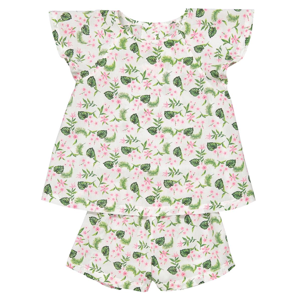 Пижама с шортами и цветочным принтом 3 -12 лет La Redoute Collections