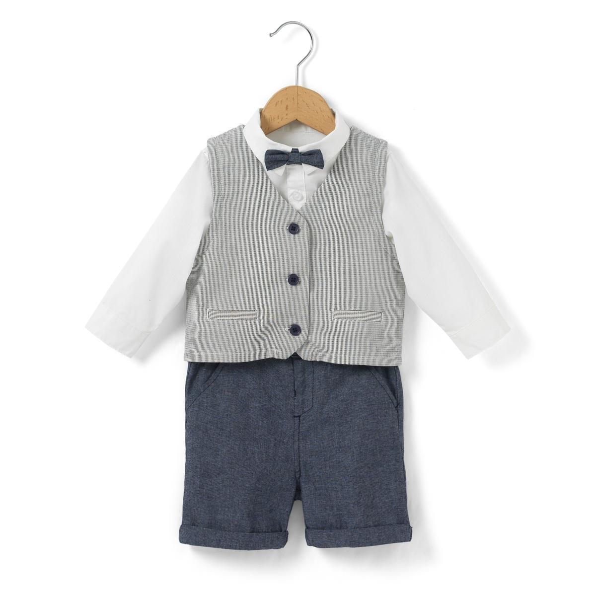 Комплект из однотонной рубашки с воротником-поло и шортов блузки и рубашки