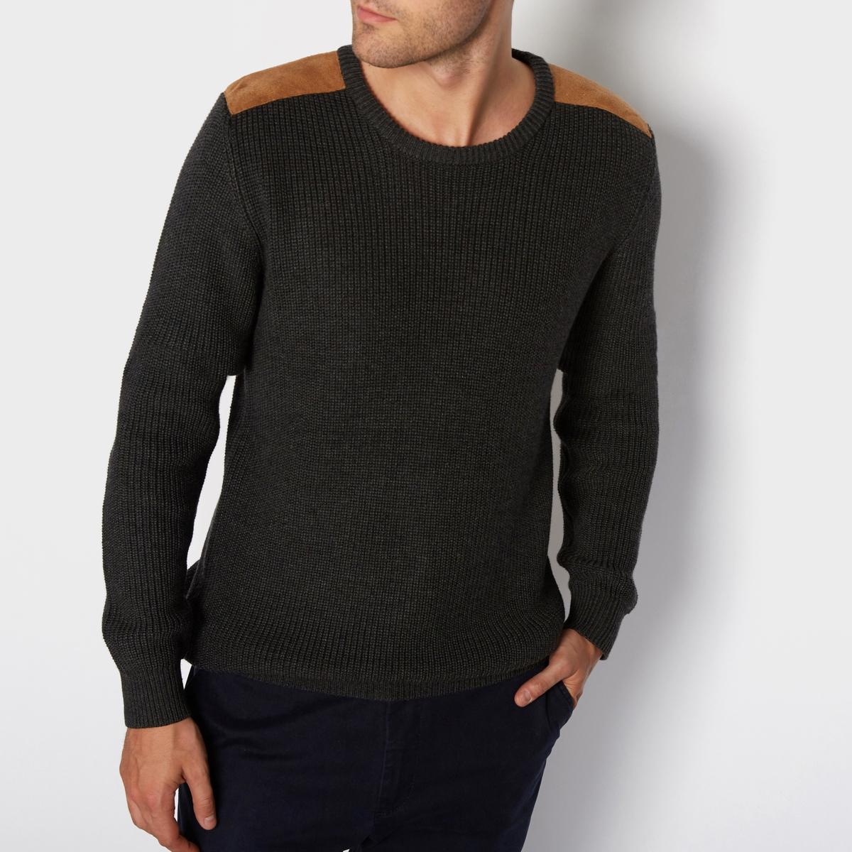 Пуловер из хлопка в рубчик, высокий воротник, вставки на плечахПуловер из хлопка в рубчик, высокий воротник, вставки на плечах, R edition.Стильный пуловер, 100% хлопок, вставки из искусственной замши на плечах. Можно носить на голое тело или с футболкой и наслаждаться комфортом.Материал : 100% хлопок Длинные рукава.  Круглый вырез. Вставки из искусственной замши на плечах.<br><br>Цвет: серый<br>Размер: M