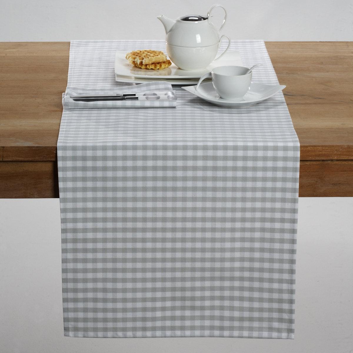 Дорожка столовая ГАРДЕН ПАТИОписание столовой дорожки:100% хлопка.Стирка 60°.Размеры столовой дорожки:45 x 145 см. Найдите подходящий столовый комплект на нашем сайте.<br><br>Цвет: серо-коричневый,серый/ белый,синий/ белый<br>Размер: 45 x 150  см.45 x 150  см
