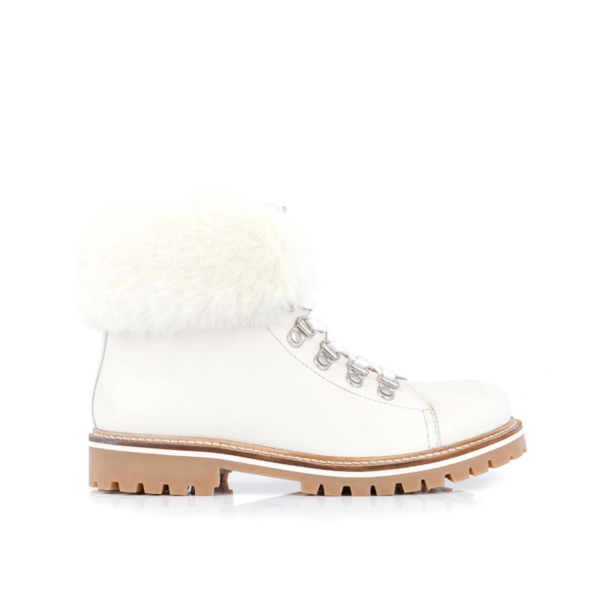 Ботинки La Redoute Кожаные горные на меху Lacen 36 белый ботильоны la redoute кожаные горные на меху laurence 36 белый