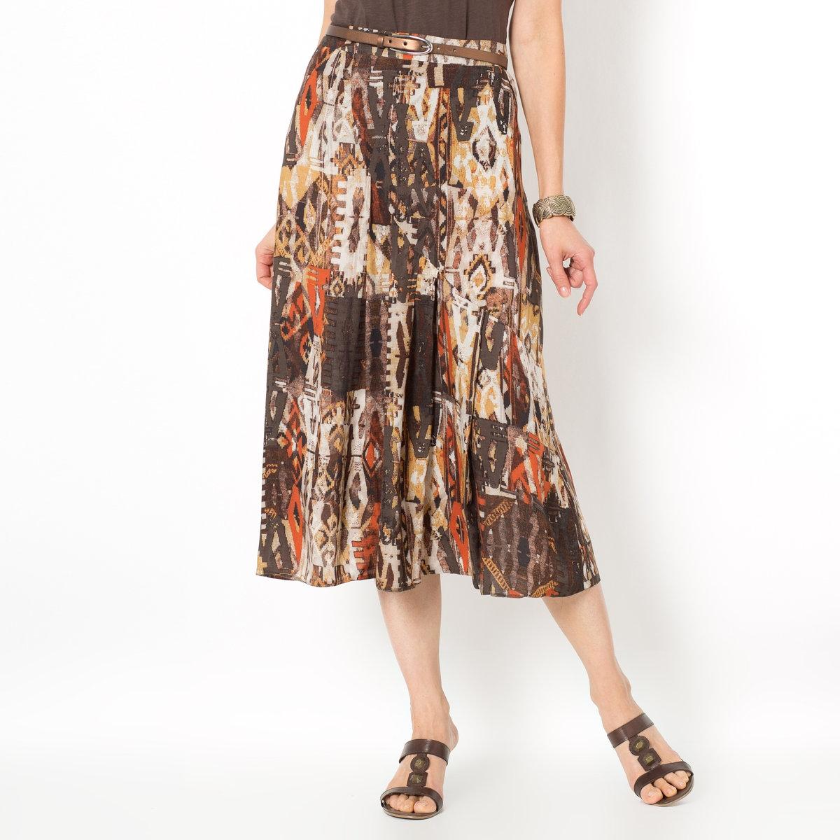 Юбка с рисункомКрасивая юбка с рисунком. Летящий широкий покрой, теплая цветовая гамма. Пояс с застежкой на молнию сзади. Длина ок. 75 см. Ткань, 100% вискозы.<br><br>Цвет: рисунок/бежевый фон<br>Размер: 44 (FR) - 50 (RUS)