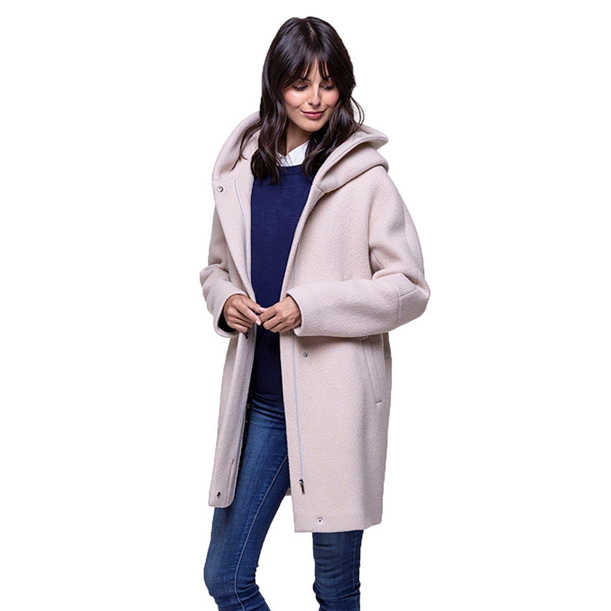 Manteau à capuche en laine extra-douce