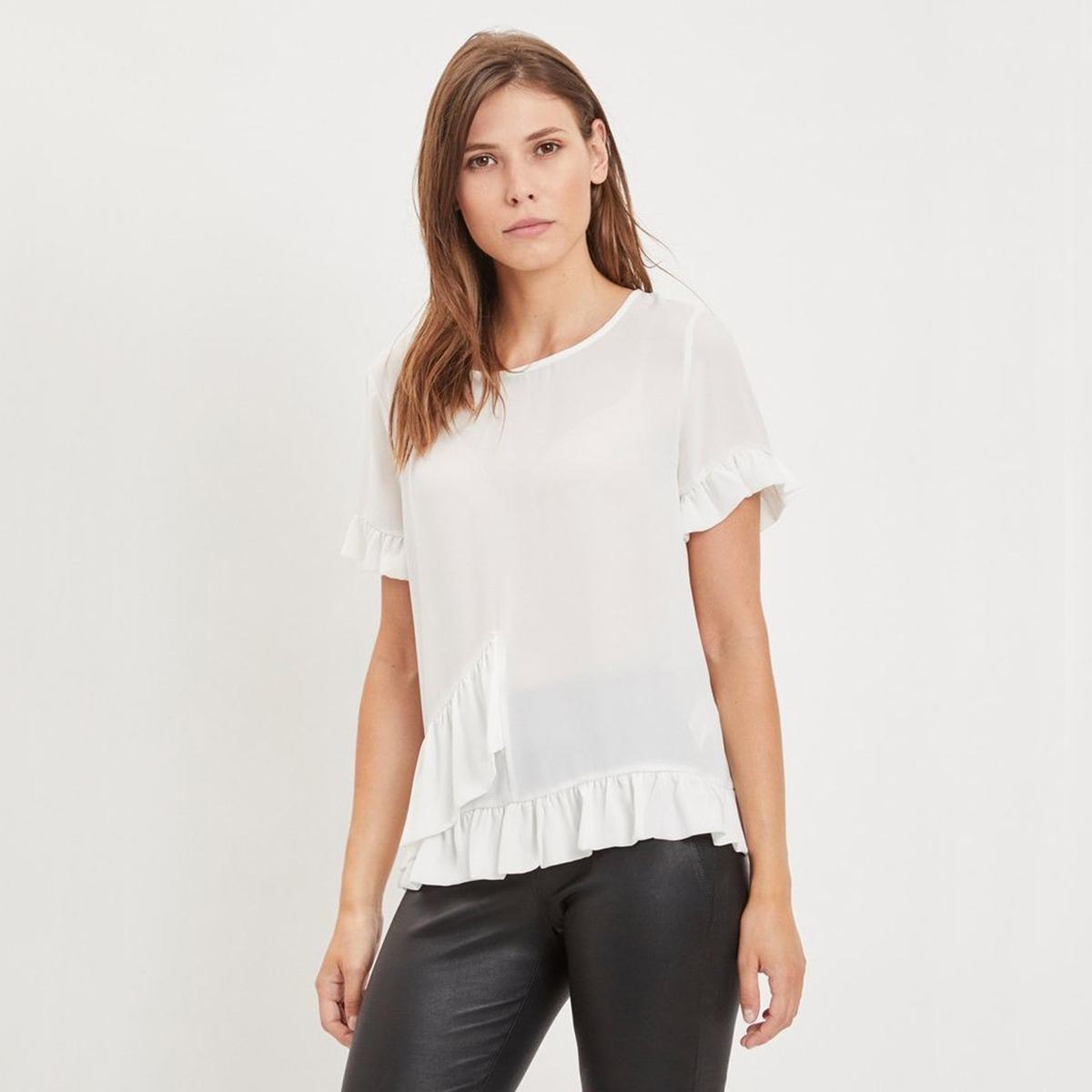 Блузка с круглым вырезом с воланами и короткими рукавами блузка кружевная с короткими рукавами