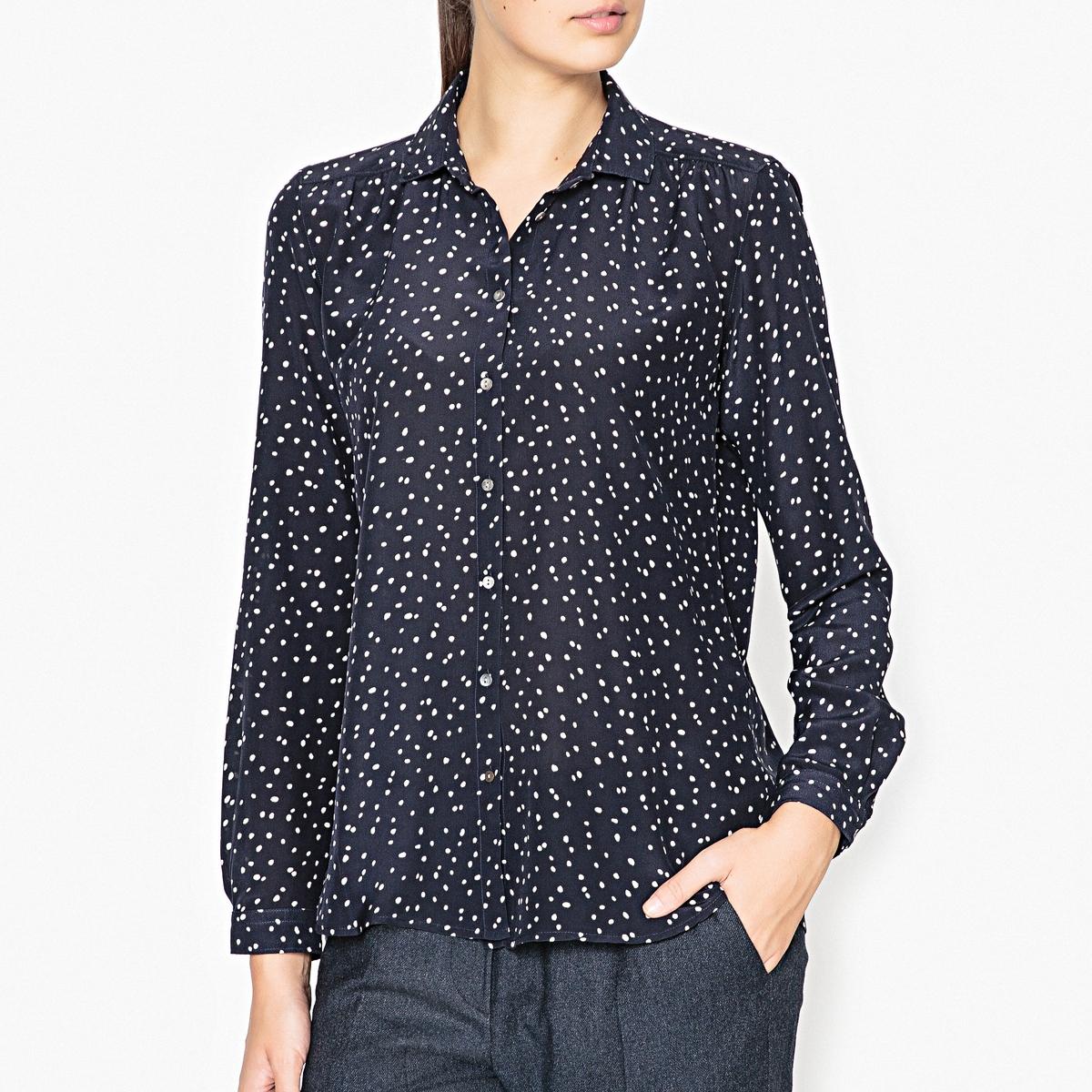 Рубашка в горошек CLAUDEРубашка в горошек с длинными рукавами HARTFORD - модель CLAUDE мз 100% хлопка с принтом .Детали •  Длинные рукава •  Прямой покрой •  Воротник-поло, рубашечный •  Цветочный рисунок  Состав и уход •  100% шелк •  Следуйте советам по уходу, указанным на этикетке<br><br>Цвет: темно-синий