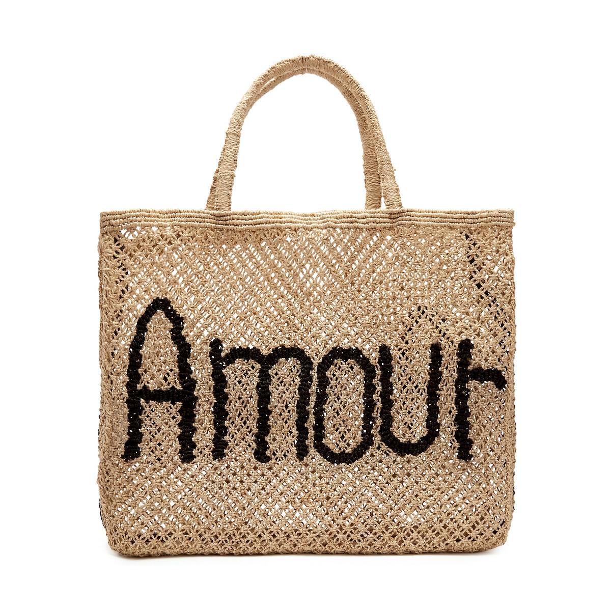 Сумка-шоппер La Redoute Из джута с надписью AMOUR единый размер бежевый зеркало la redoute д x в см principe единый размер бежевый